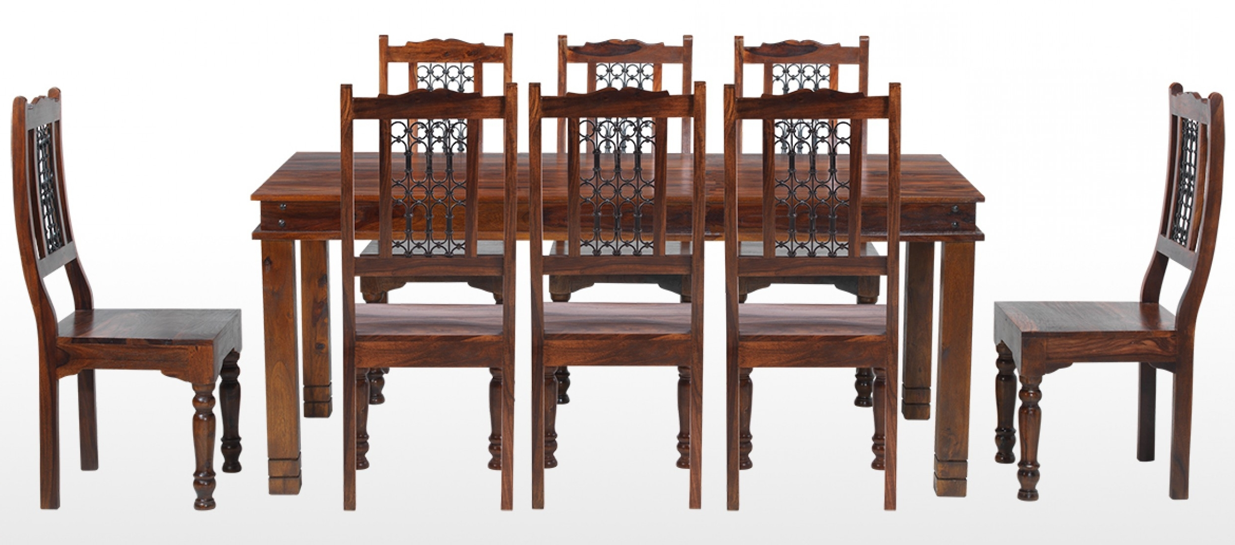 Preferred Jali Sheesham 200 Cm Chunky Dining Table And 8 Chairs (Gallery 18 of 25)