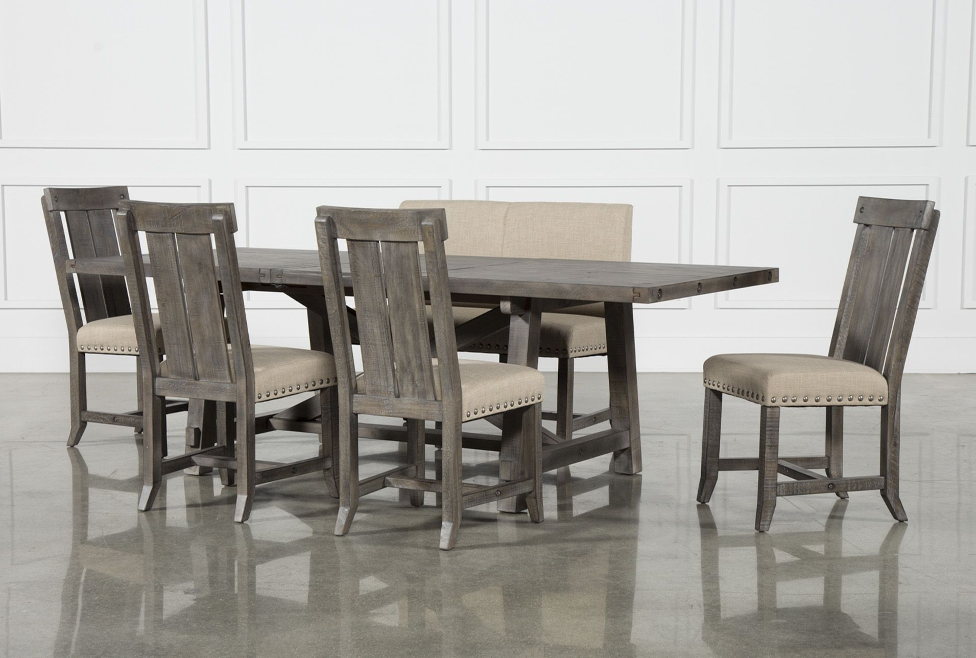 Preferred Jaxon 5 Piece Extension Counter Sets With Fabric Stools Throughout Jaxon Grey 6 Piece Rectangle Extension Dining Set W/bench & Wood (View 18 of 25)