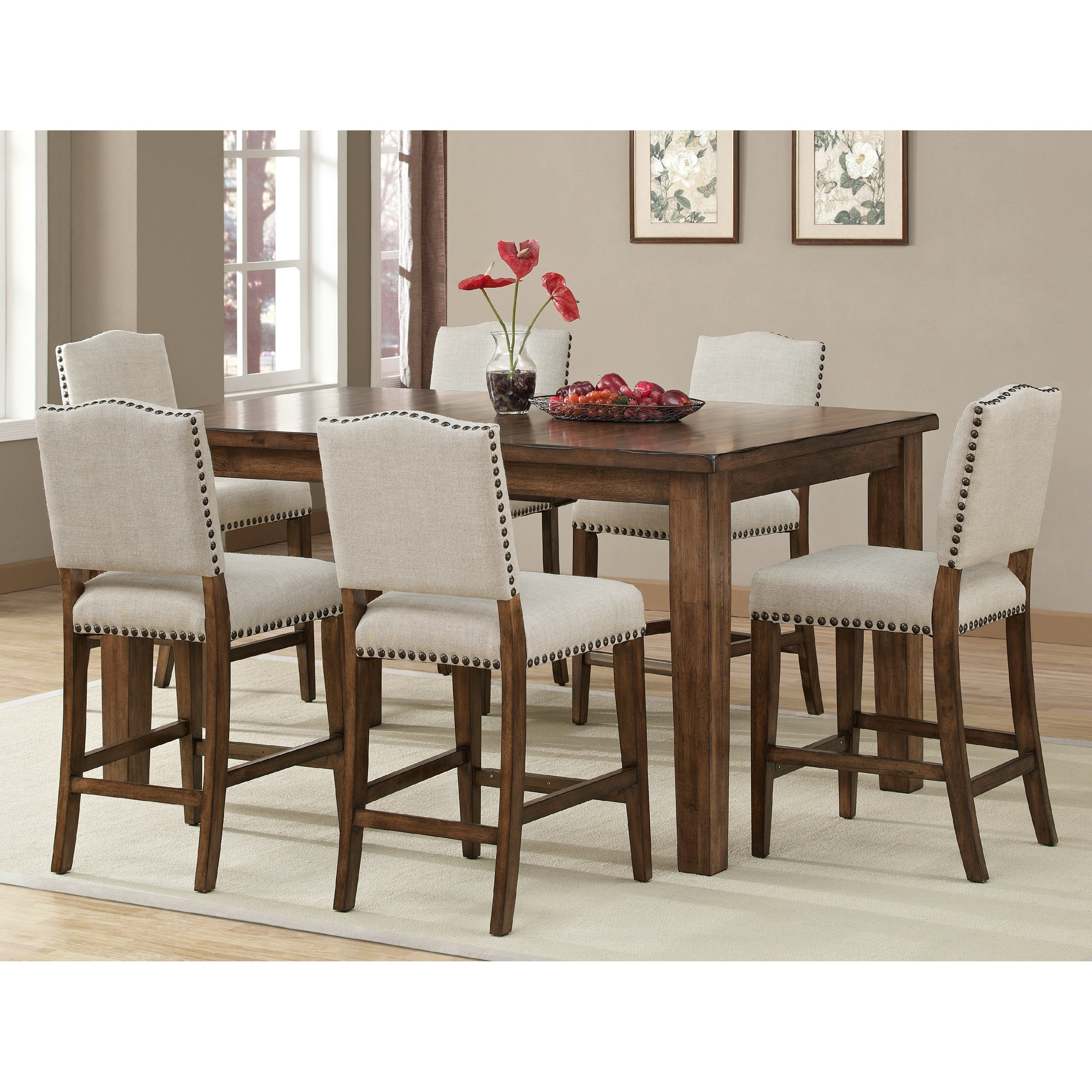 Preferred Jaxon 5 Piece Extension Round Dining Sets With Wood Chairs With Ahb Cameo Counter Height Dining Table In Coastal Grey (View 16 of 25)