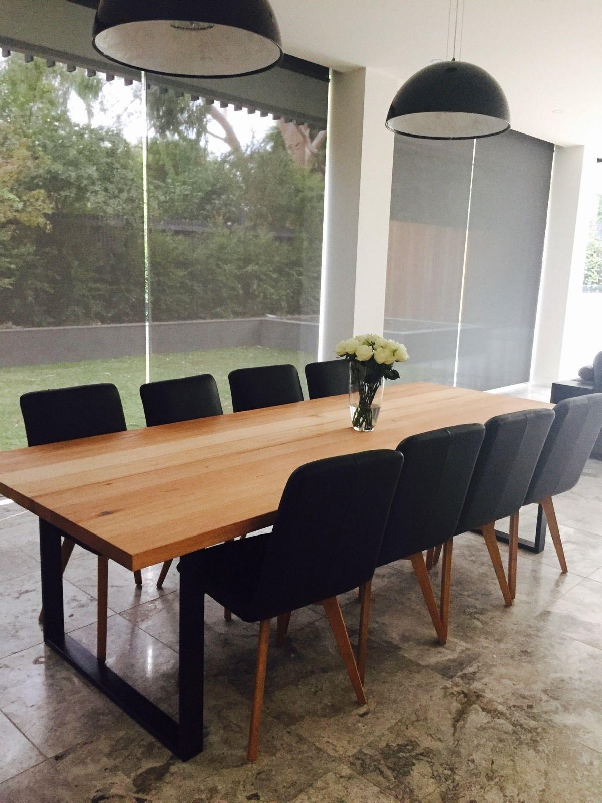 Preferred Large Handmade Local Vic Oak Ash Dining Table Industrial Steel Loop Throughout Ebay Dining Suites (View 16 of 25)
