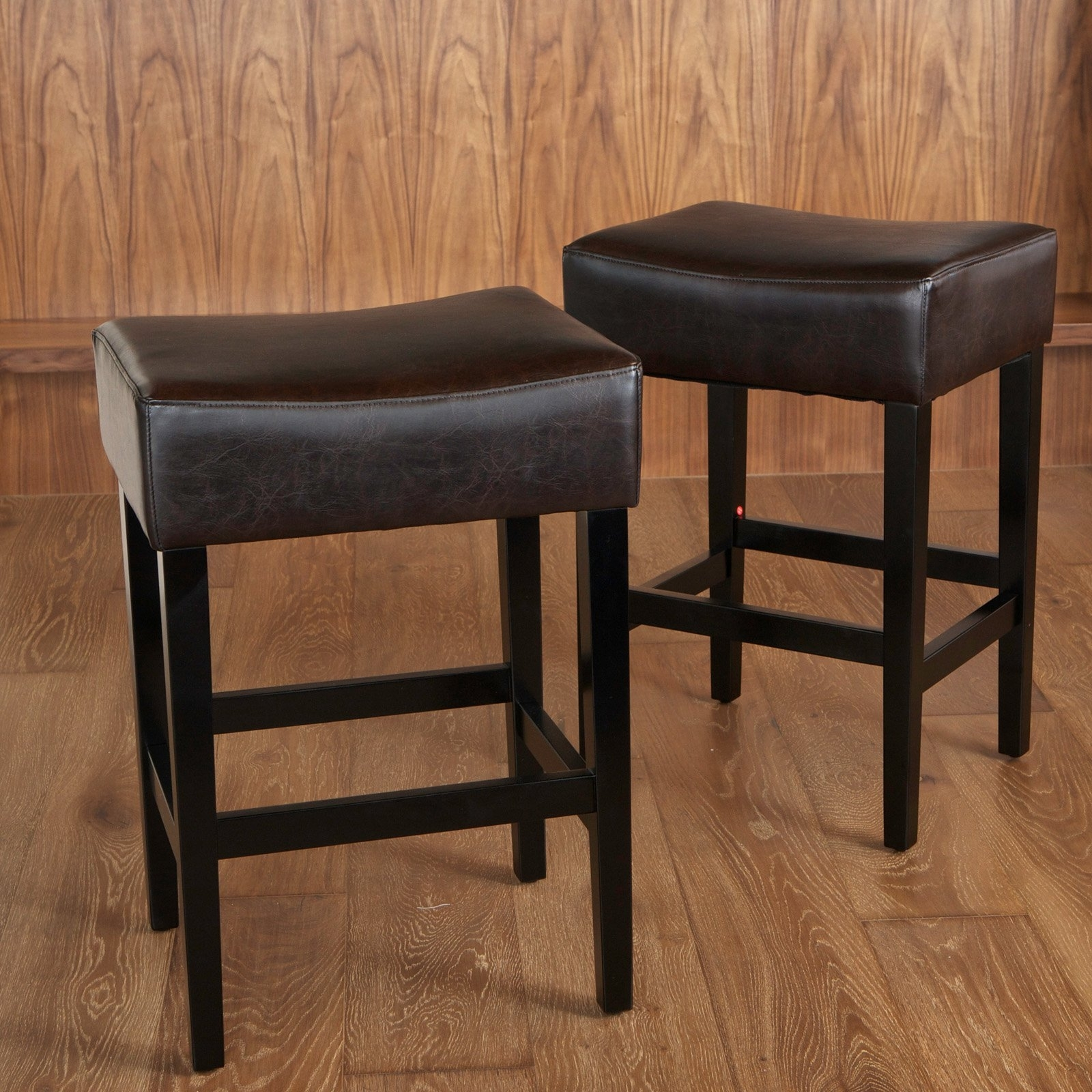 Preferred Laurent 7 Piece Counter Sets With Upholstered Counterstools Regarding Lopez Backless Brown Leather Counter Stools – 2 Pack – Walmart (Gallery 22 of 25)