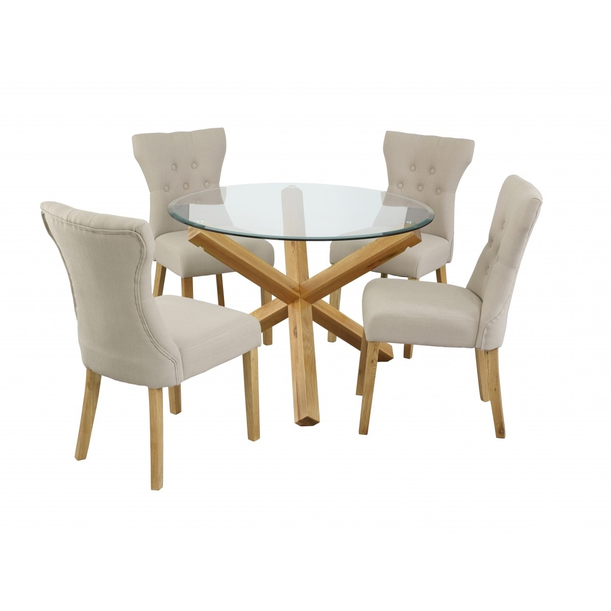 Preferred Lpd Oporto Medium Round Glass Dining Table – Oak – Home Done Within Oak Glass Dining Tables (View 20 of 25)