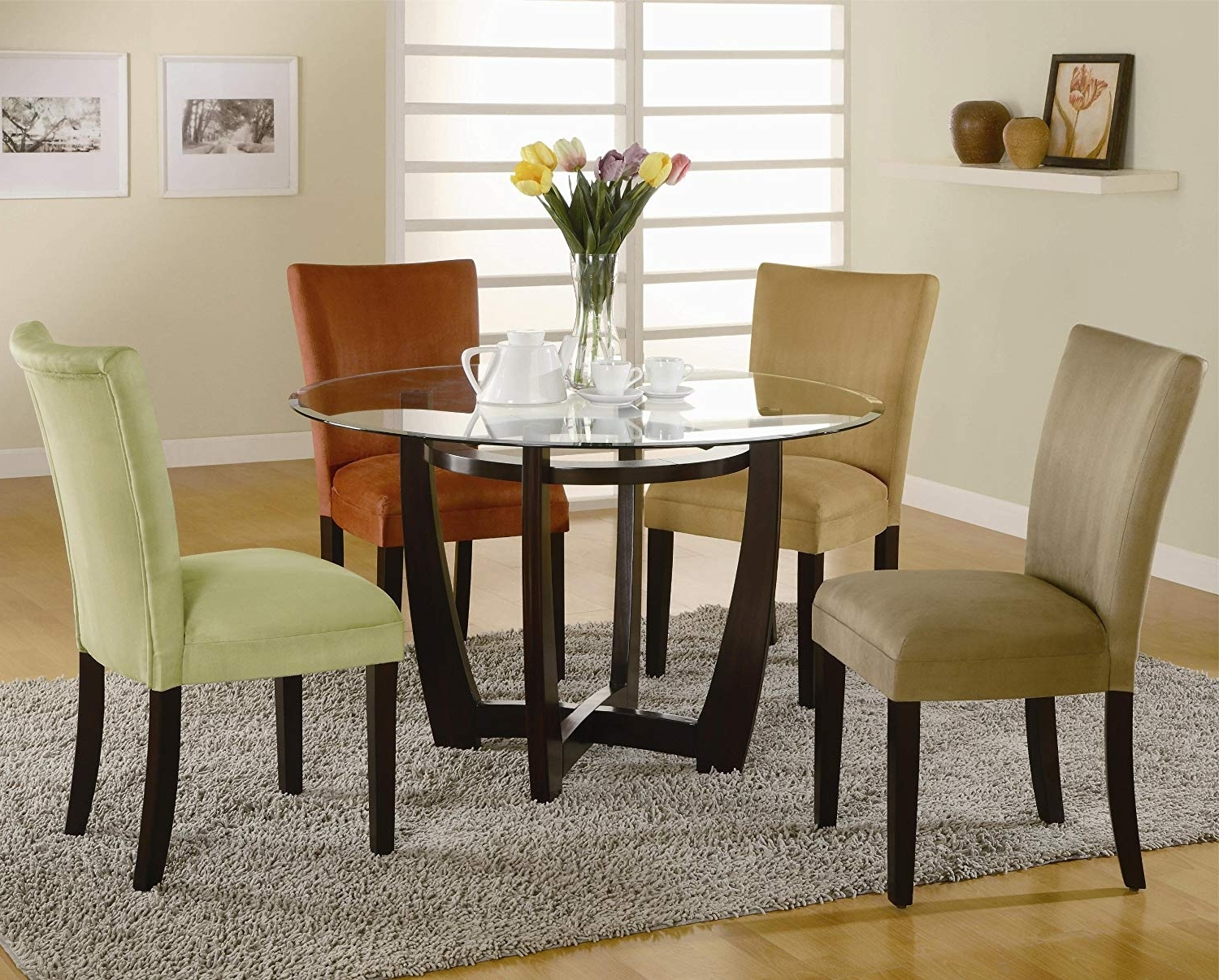 Preferred Macie 5 Piece Round Dining Sets Throughout Amazon – Round Dining Table With Glass Top Cappuccino Finish (View 22 of 25)
