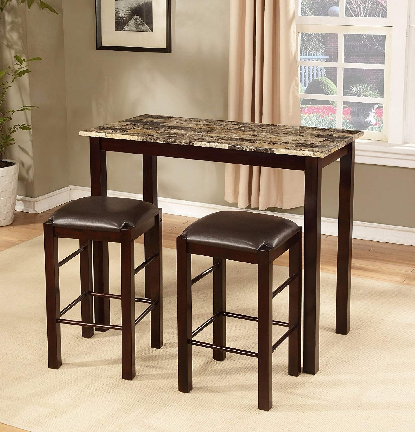 Preferred Market 5 Piece Counter Sets Intended For Amazon – Roundhill Furniture Brando 3 Piece Counter Height (View 24 of 25)