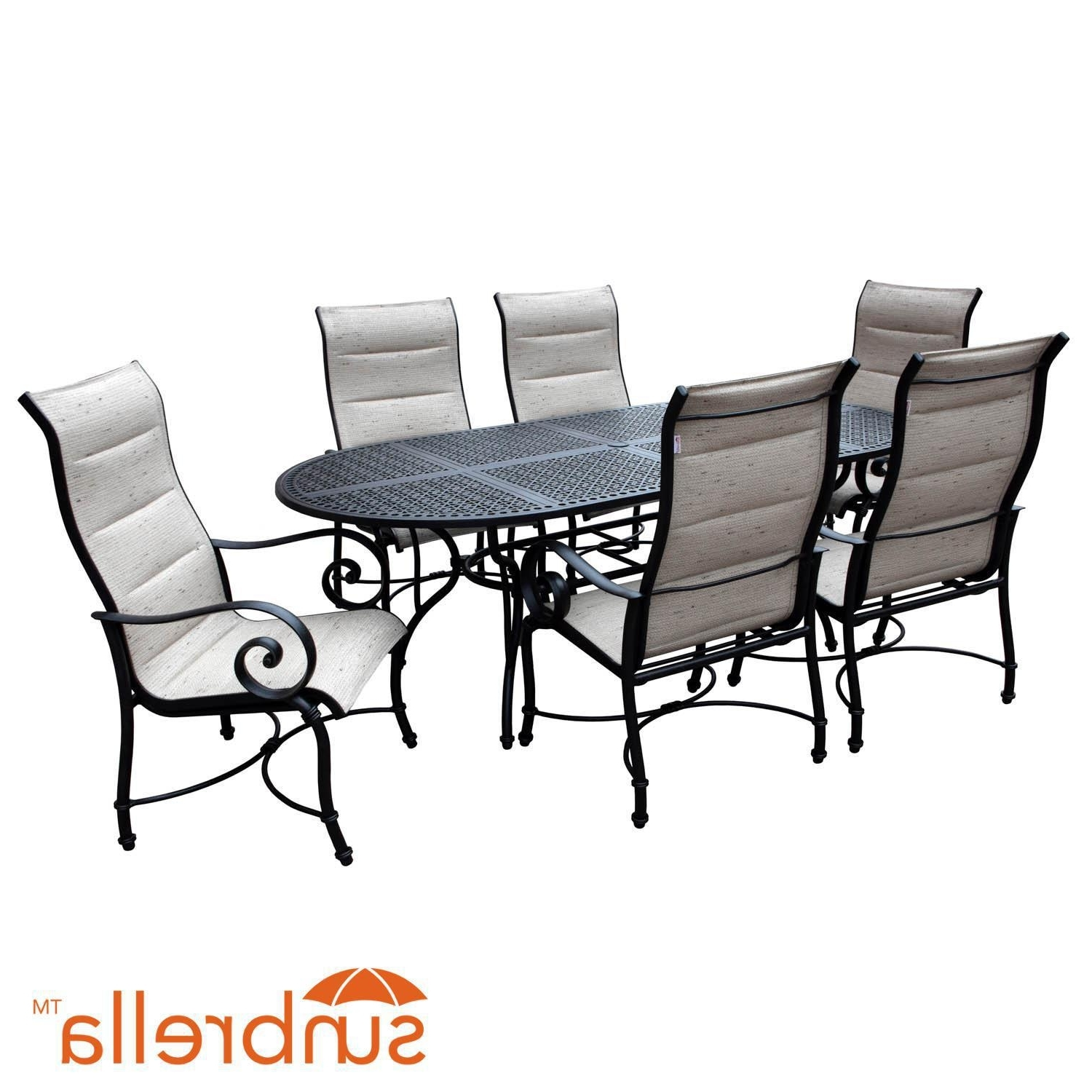 Preferred Market 7 Piece Dining Sets With Side Chairs With Elysian 7 Piece Padded Sunbrella Sling Patio Dining Set W/ 84 Inch (Gallery 19 of 25)