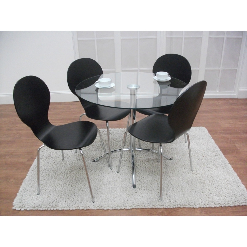 Preferred Round Acrylic Dining Tables Regarding Modern Round Glass Top Dining Table With Steel Legs Combined With (View 16 of 25)
