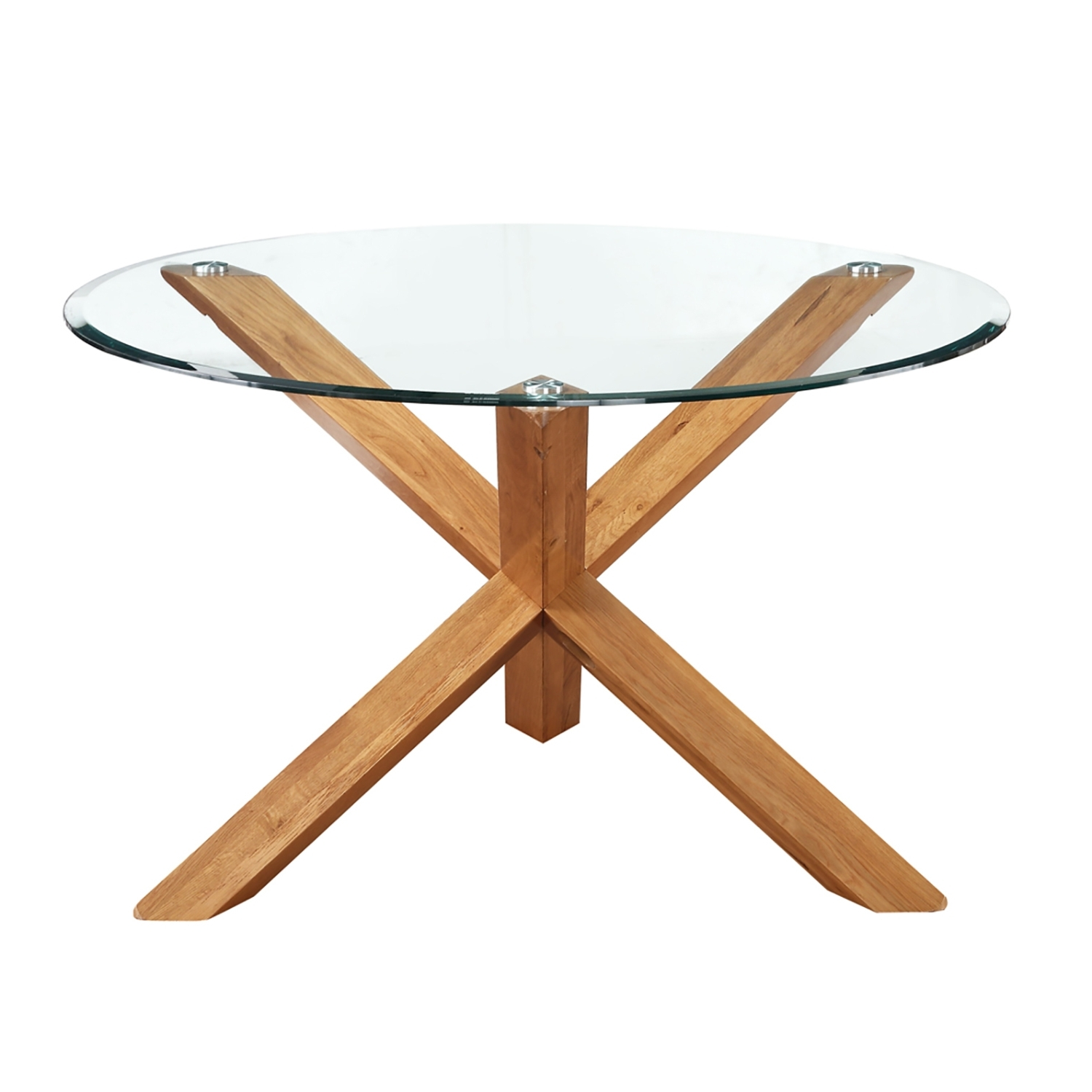 Preferred Round Glass Dining Tables With Oak Legs With Regard To Miso Solid Oak And Glass Dining Table (View 14 of 25)