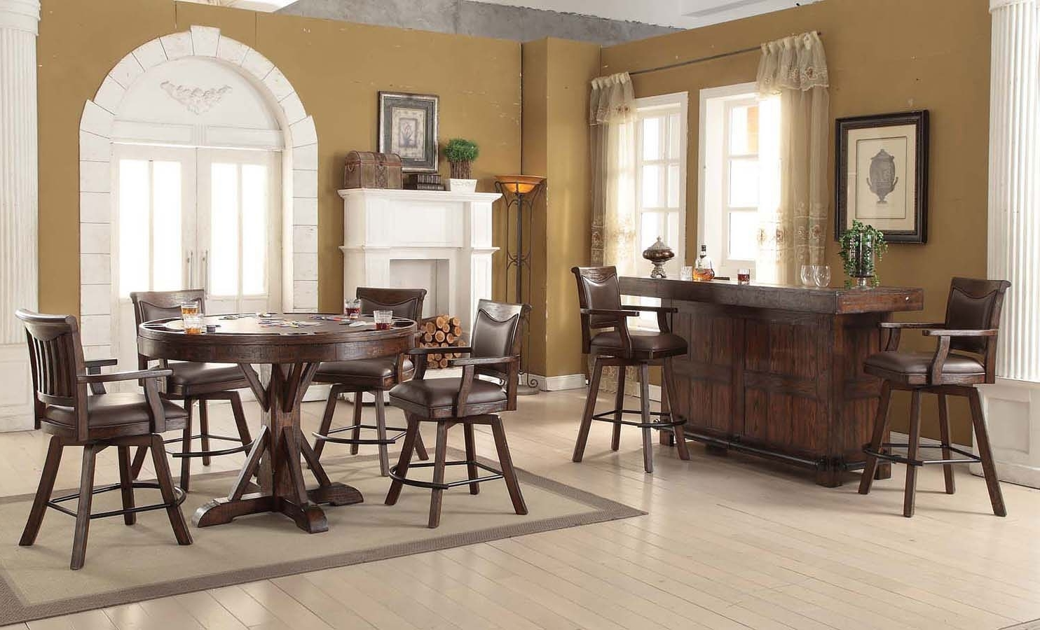 Preferred Scs Dining Furniture Within Gettysburg Round Pub Game Table Set – Home Bar And Game Room (View 14 of 25)
