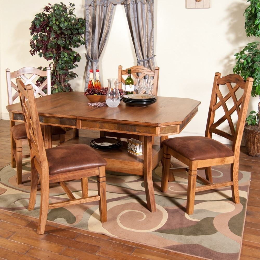 Preferred Sedona Wood Double Leaf Dining Table & Chairs In Rustic Oak (View 12 of 25)