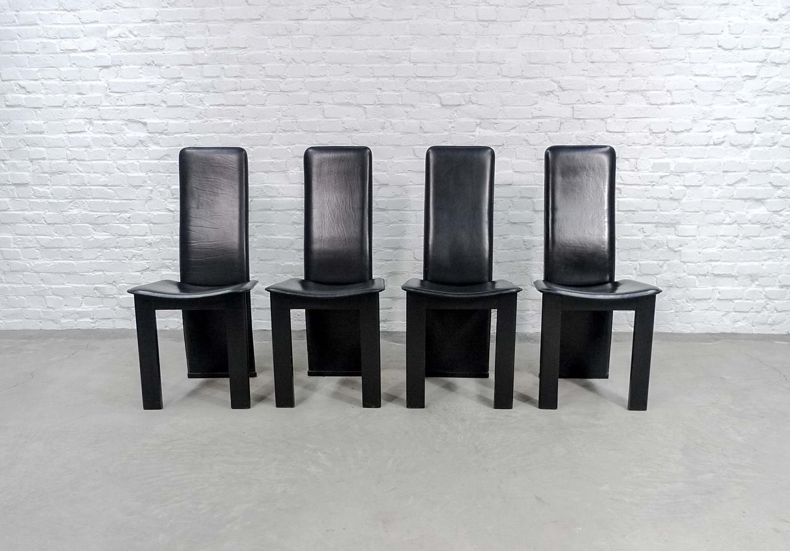 Preferred Set Of 4 Mid Century Black Sadle Leather High Back Dining Chairs In In High Back Leather Dining Chairs (View 4 of 25)