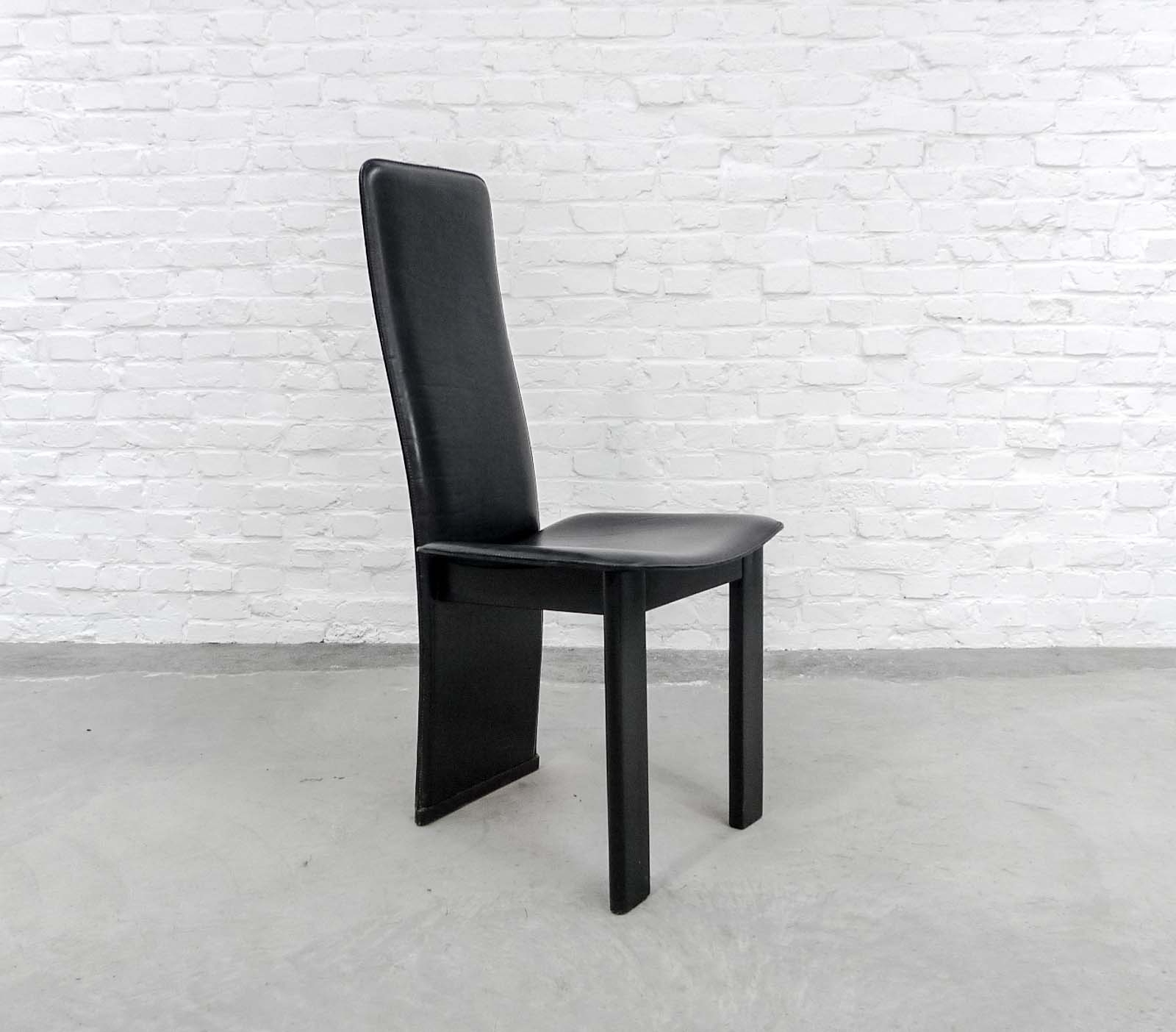 Preferred Set Of 4 Mid Century Black Sadle Leather High Back Dining Chairs In Throughout High Back Leather Dining Chairs (View 19 of 25)
