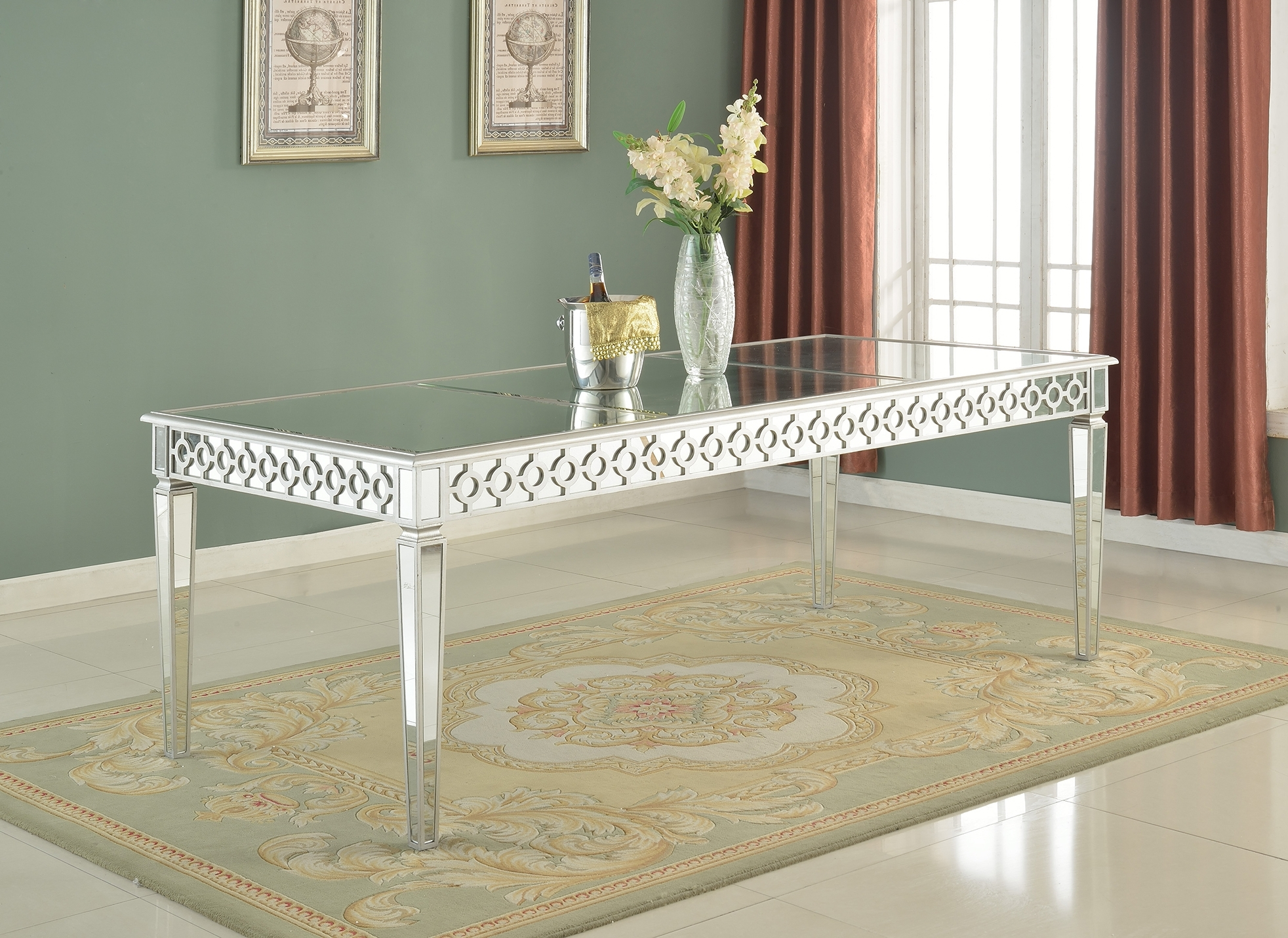 Preferred Sophie Mirrored Dining Table For Mirrored Dining Tables (View 18 of 25)