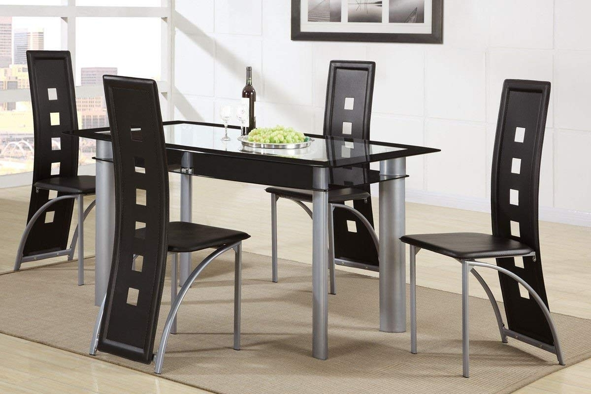 Preferred Valencia 72 Inch 7 Piece Dining Sets With Regard To Amazon – Poundex F2212 & F1274 Black Painted Glass & Leatherette (View 16 of 25)