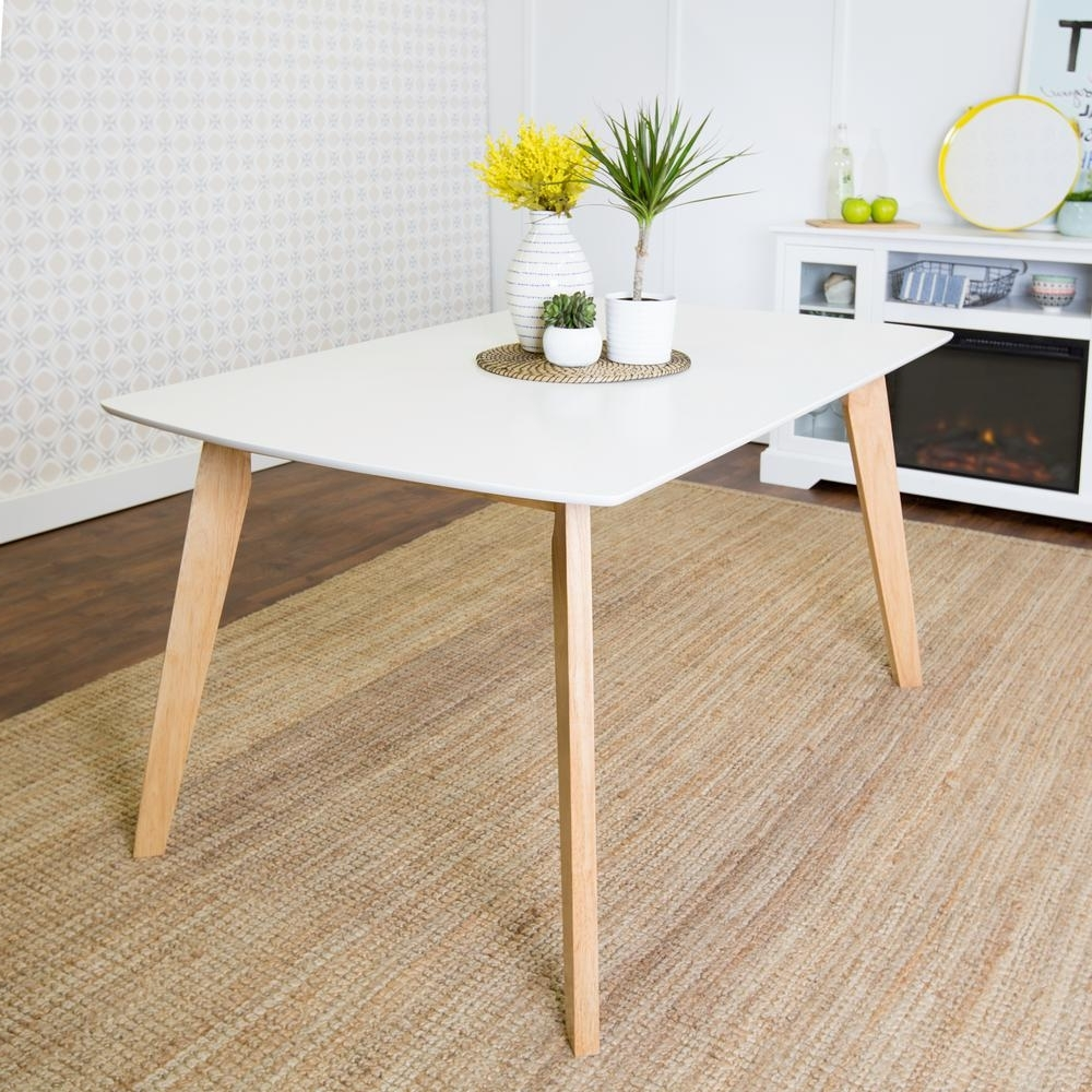 Preferred Walker Edison Furniture Company Retro Modern White And Natural Stain Inside Modern Dining Tables (View 20 of 25)