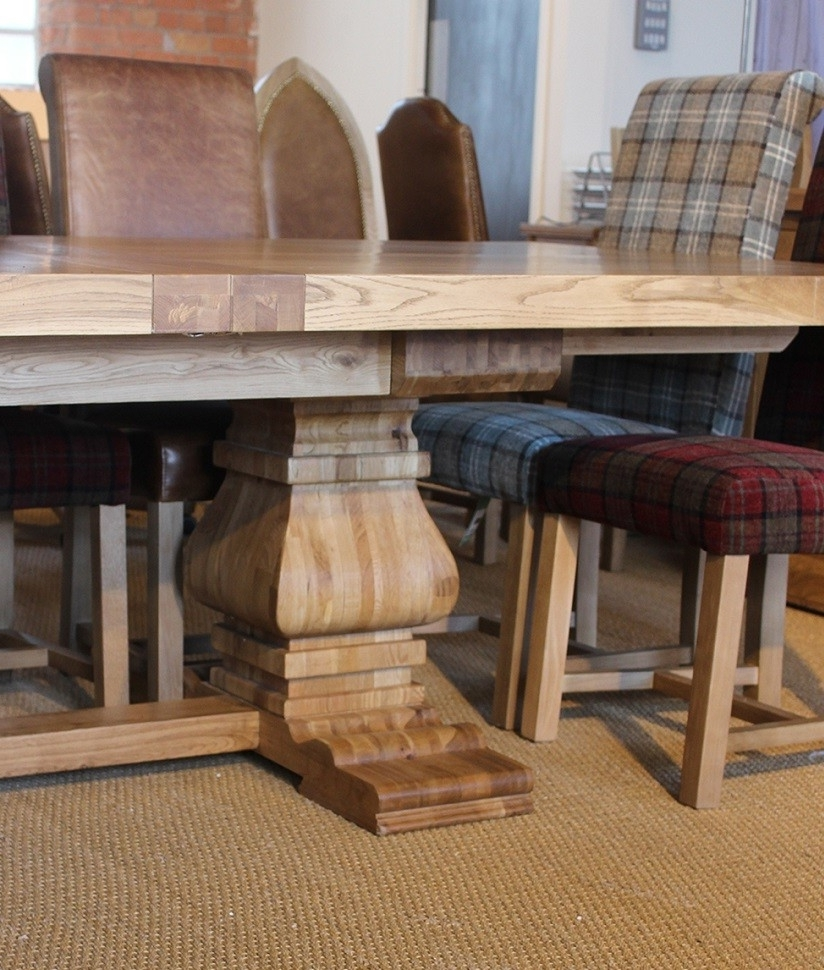 Preferred Windermere Rustic Oak Extending Monastery Dining Table (View 4 of 25)