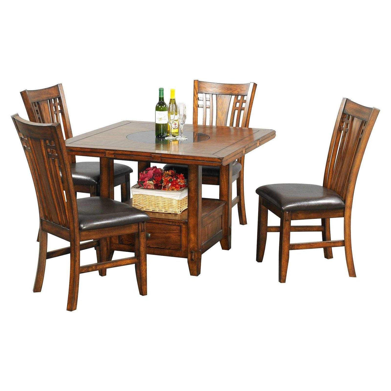 Preferred Winners Only Zahara 5 Piece Dining Table Set With Granite Lazy Susan Inside Craftsman 5 Piece Round Dining Sets With Side Chairs (Gallery 16 of 25)