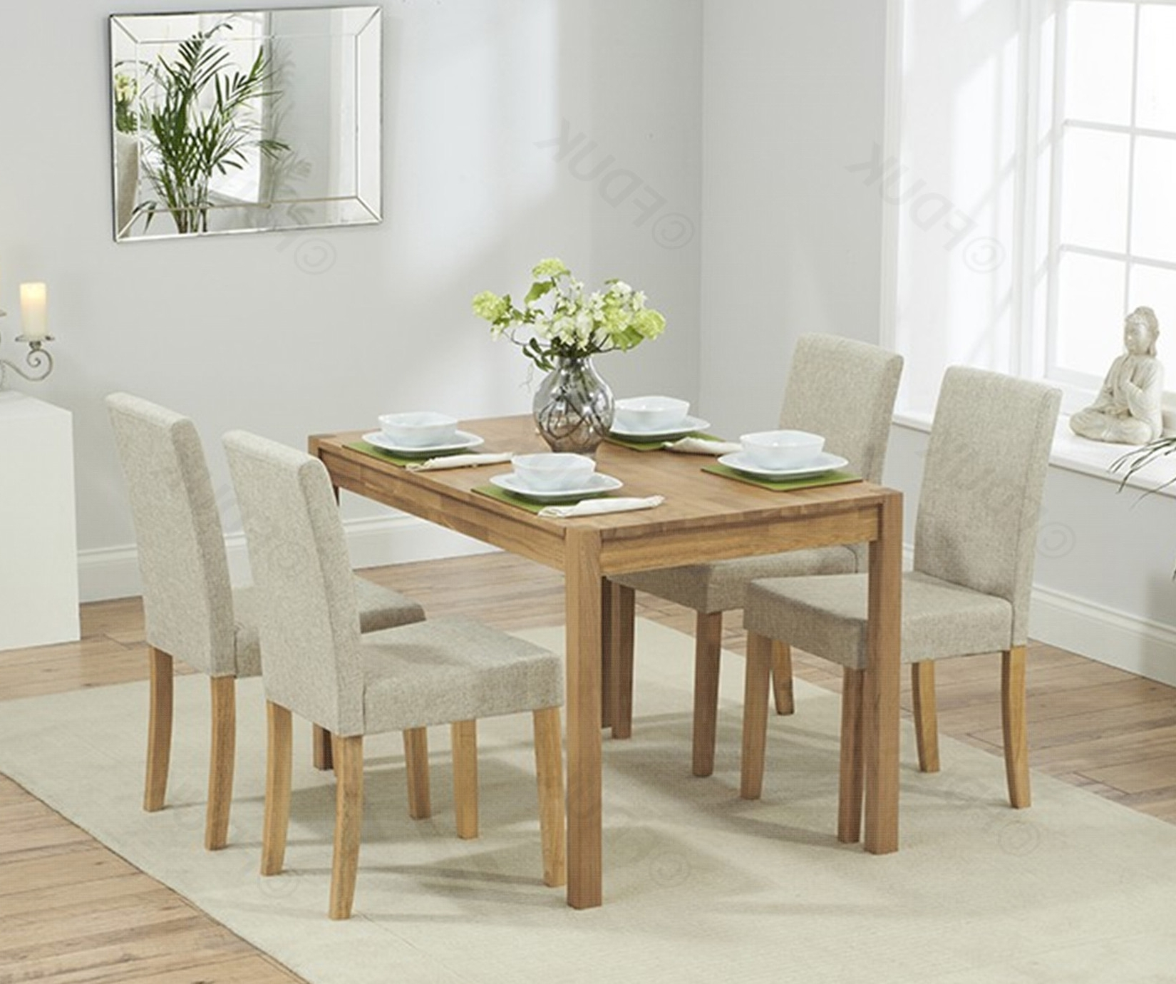 Promo 120Cm Oak Dining Table With 4 Maiya Cream (View 20 of 25)