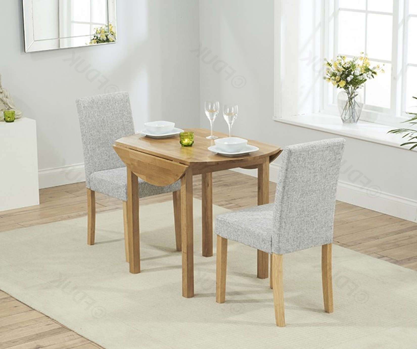 Promo Oak Round Extending Dining Table With 2 Within Round Extending Dining Tables Sets (View 9 of 25)