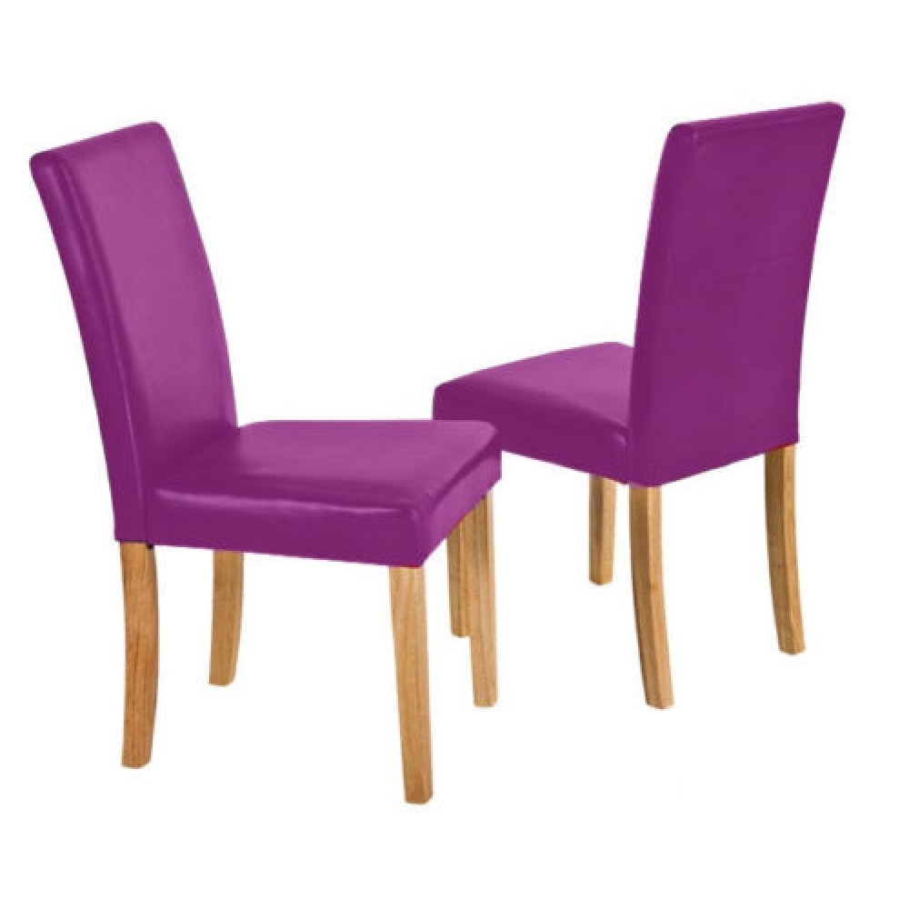 Purple Faux Leather Dining Chairs In Well Known Pair Of Flexi White Faux Leather Dining Chair Padded Back And Seat (View 3 of 25)