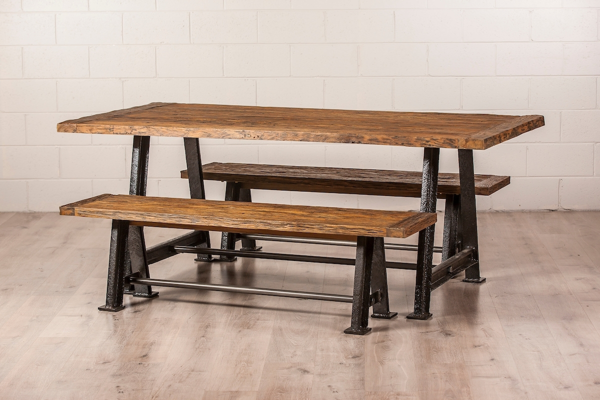Railway Dining Table With Metal Legs (View 16 of 25)