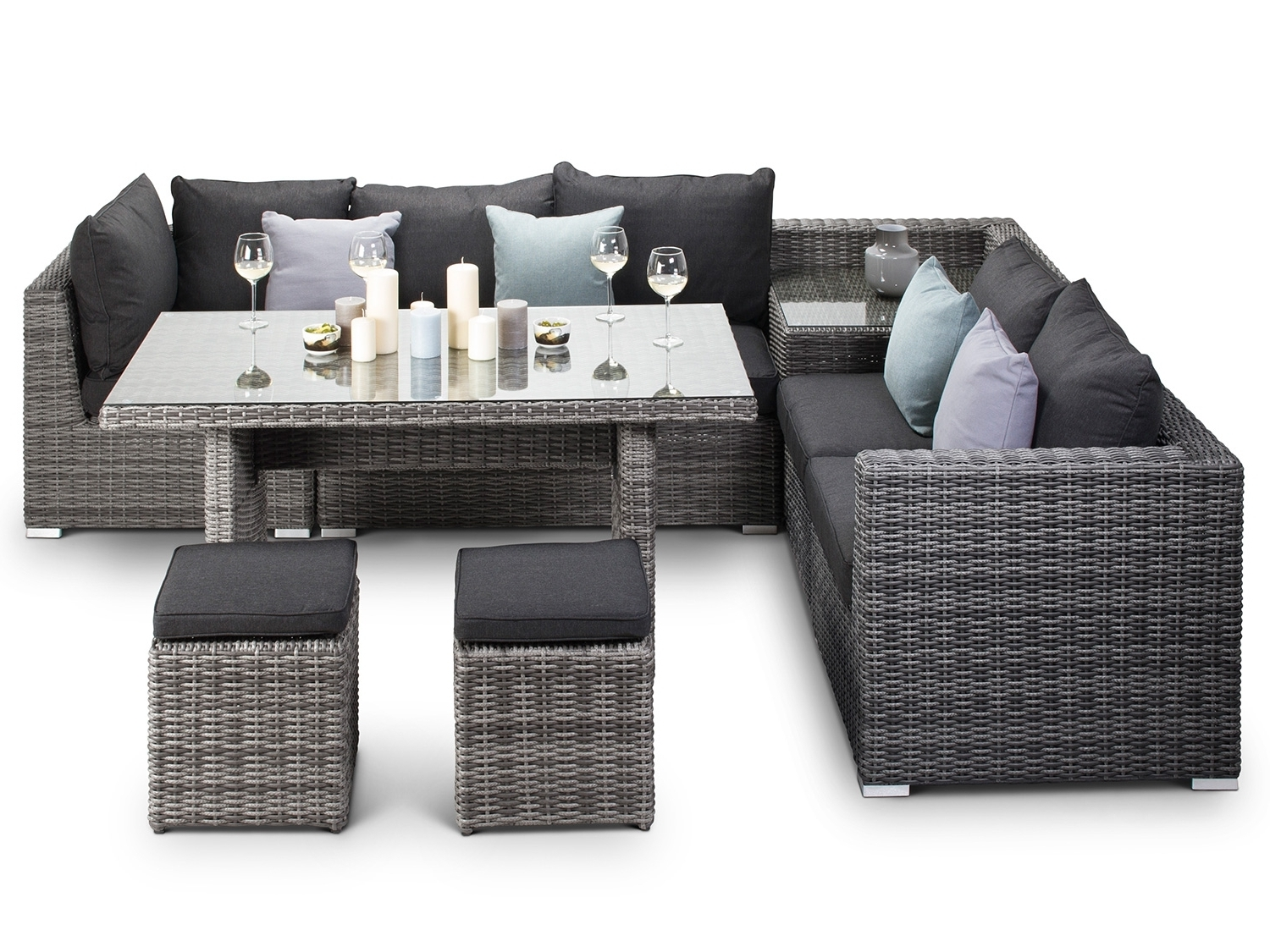 Rattan Dining Tables Inside 2017 Verona Grey Rattan Corner Sofa With Dining Table (View 13 of 25)