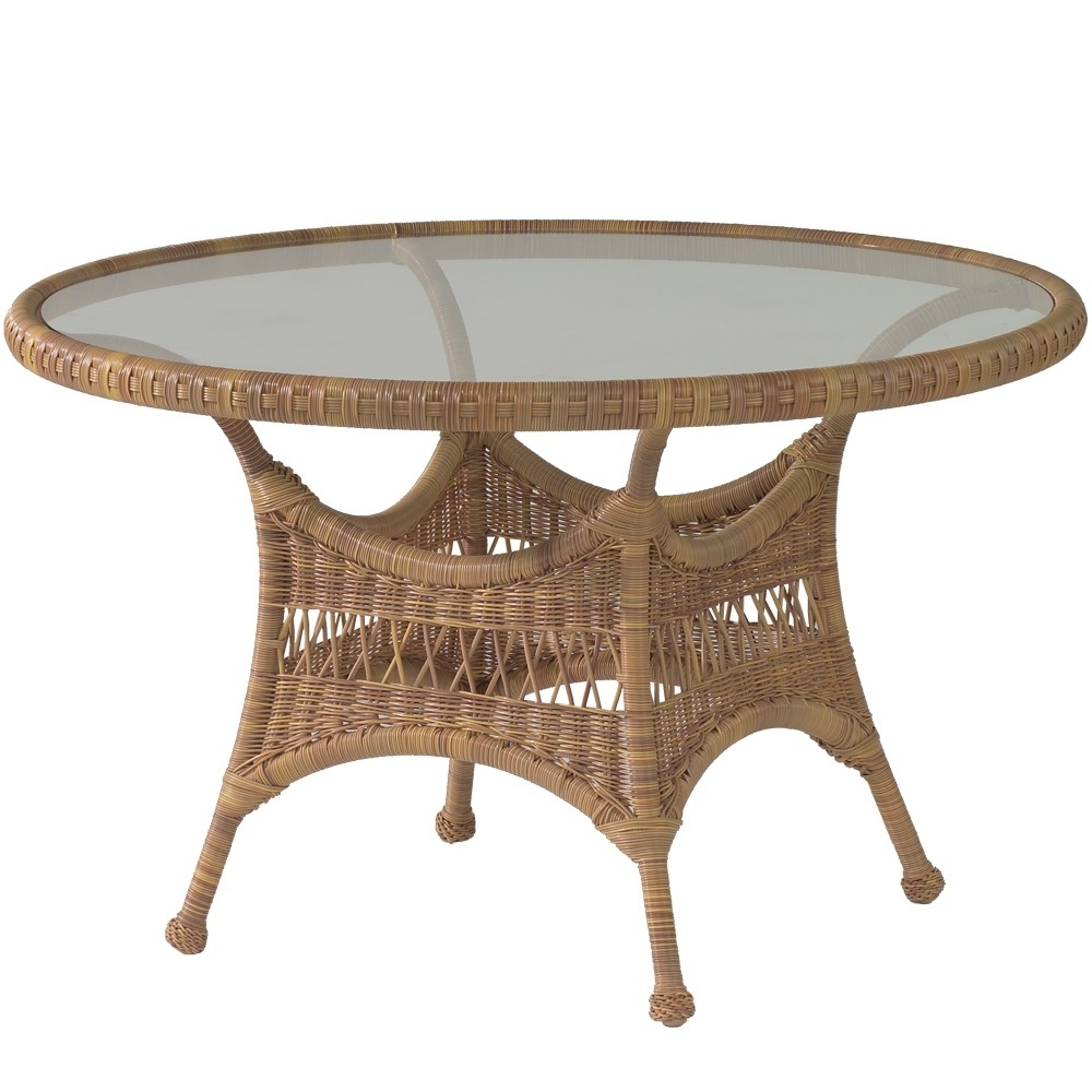 """Rattan Dining Tables Inside Preferred Whitecraftwoodard Sommerwind Wicker 48"""" Round Dining Table (View 15 of 25)"""