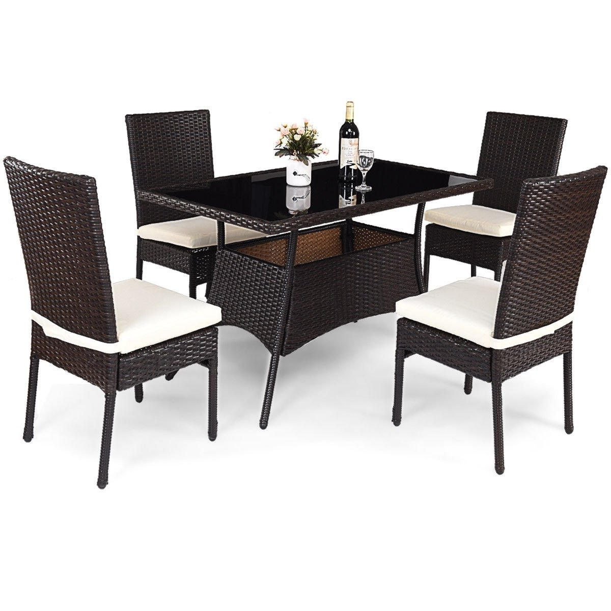 Rattan Dining Tables Intended For Most Popular Shop Costway 5 Piece Outdoor Patio Furniture Rattan Dining Table (View 14 of 25)