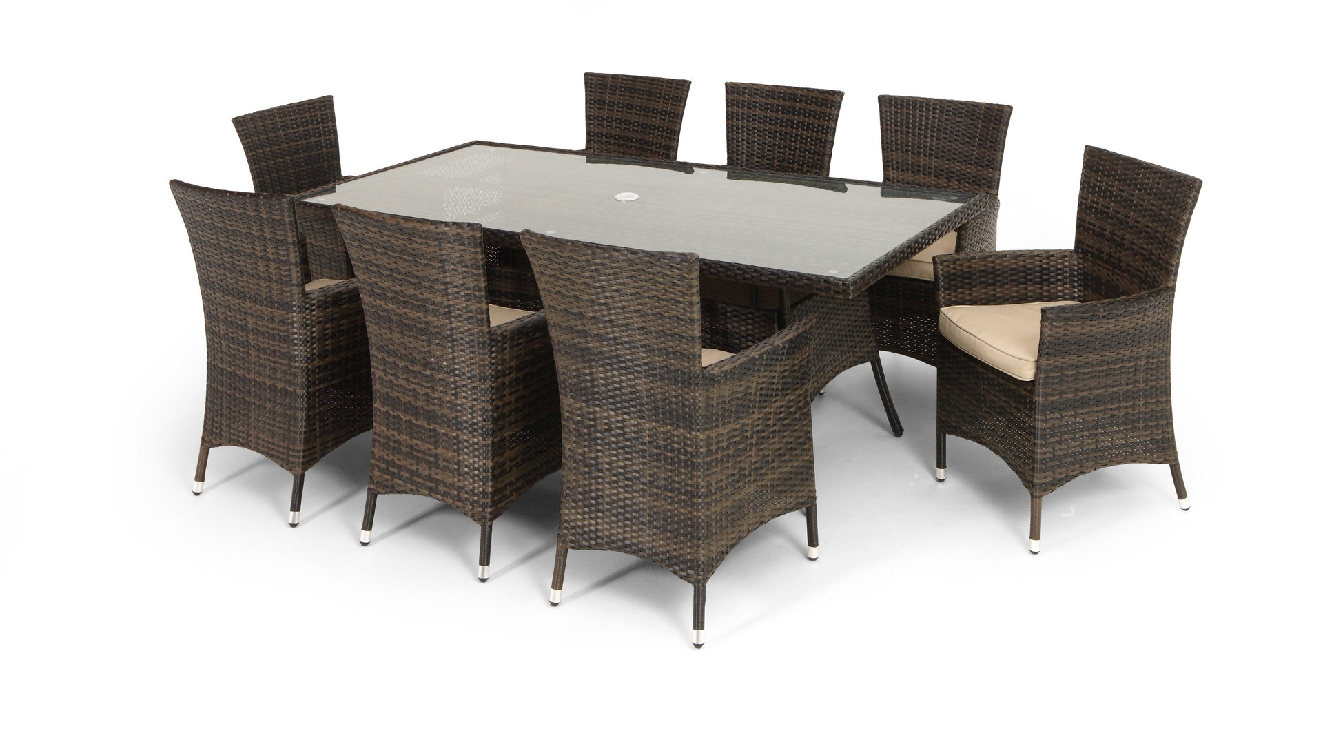 Rattan Garden Dining Set - Large 8 Seater Dining Table & 8 Arm for Trendy 8 Seat Dining Tables