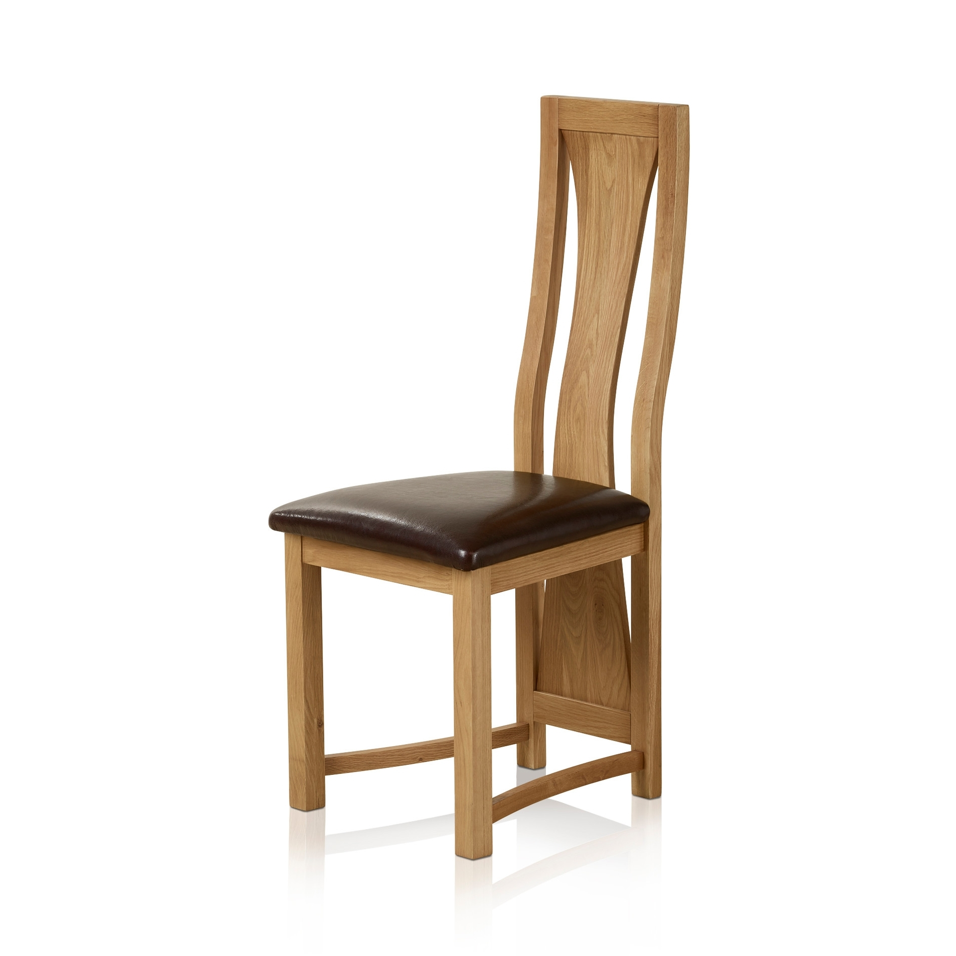 Real Leather Dining Chairs For Well Liked Waterfall Dining Chair In Natural Oak (View 17 of 25)