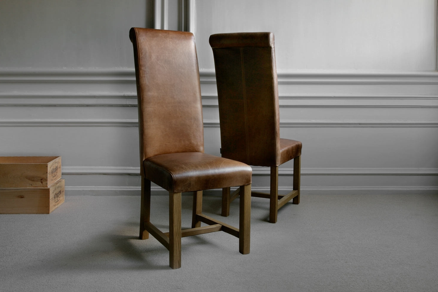 Real Leather Dining Chairs Inside Famous Tall Roll Back Leather Chairindigo Furniture (View 16 of 25)