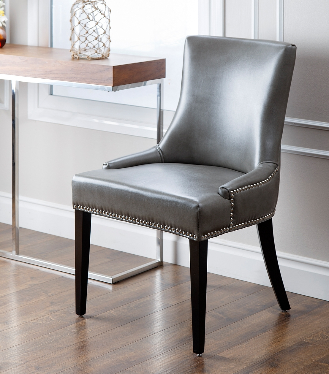 Real Leather Dining Chairs Inside Fashionable Grey Leather Dining Chairs For Furnishing The Dining Room – Home (View 18 of 25)