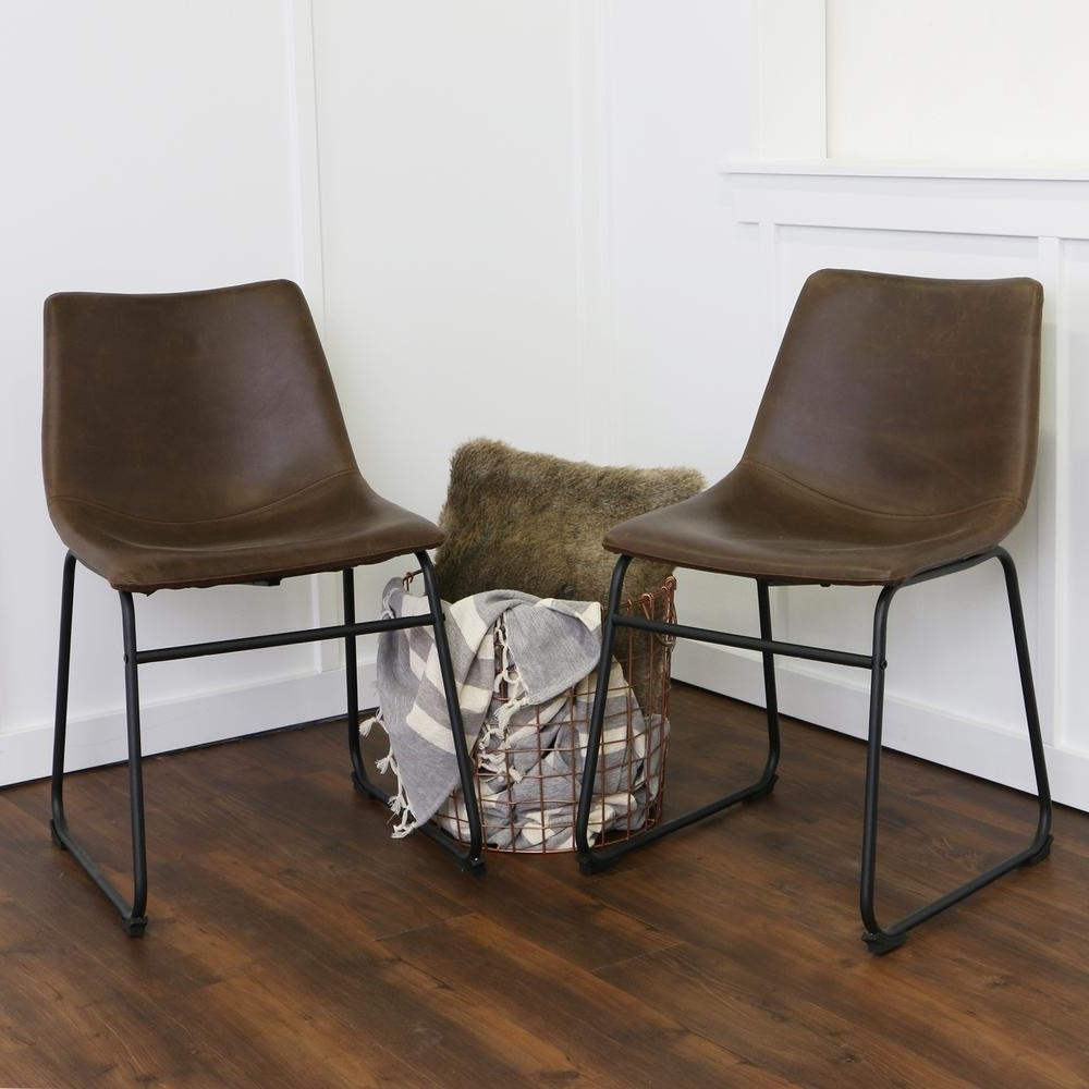 Real Leather Dining Chairs Regarding Newest Walker Edison Furniture Company Wasatch Brown Faux Leather Dining (View 19 of 25)