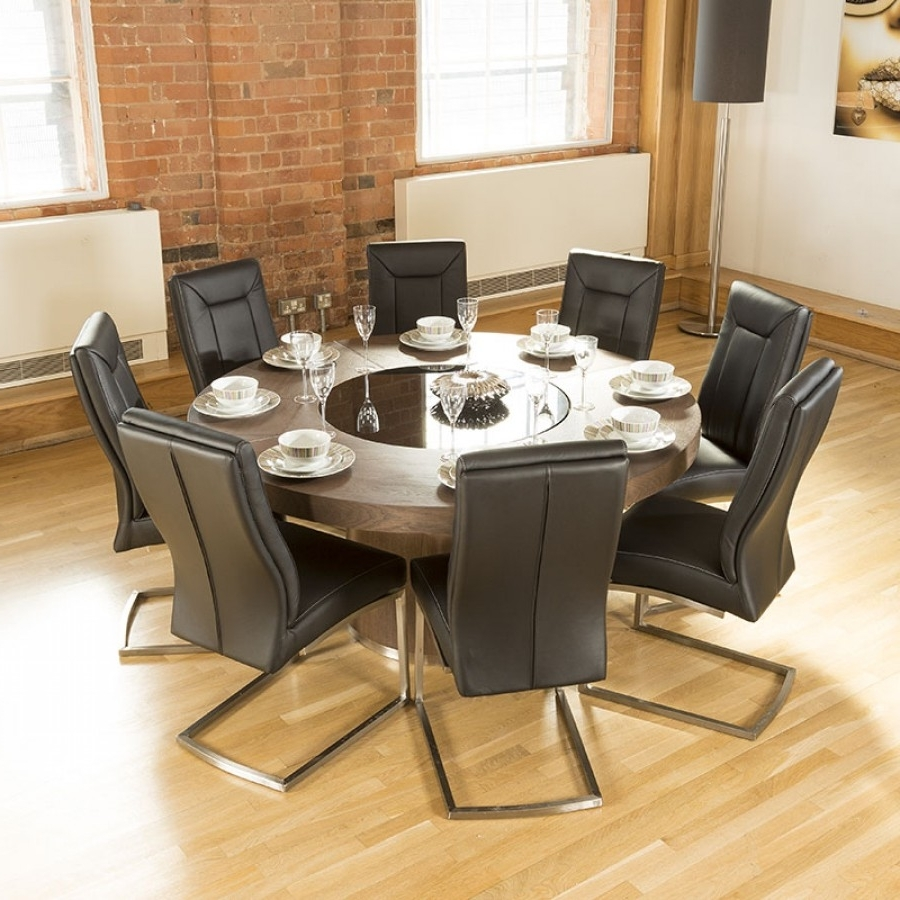 Recent 8 Chairs Dining Tables Within Luxury Large Round Elm Dining Table Lazy Susan + 8 Chairs 4110 Black (View 15 of 25)