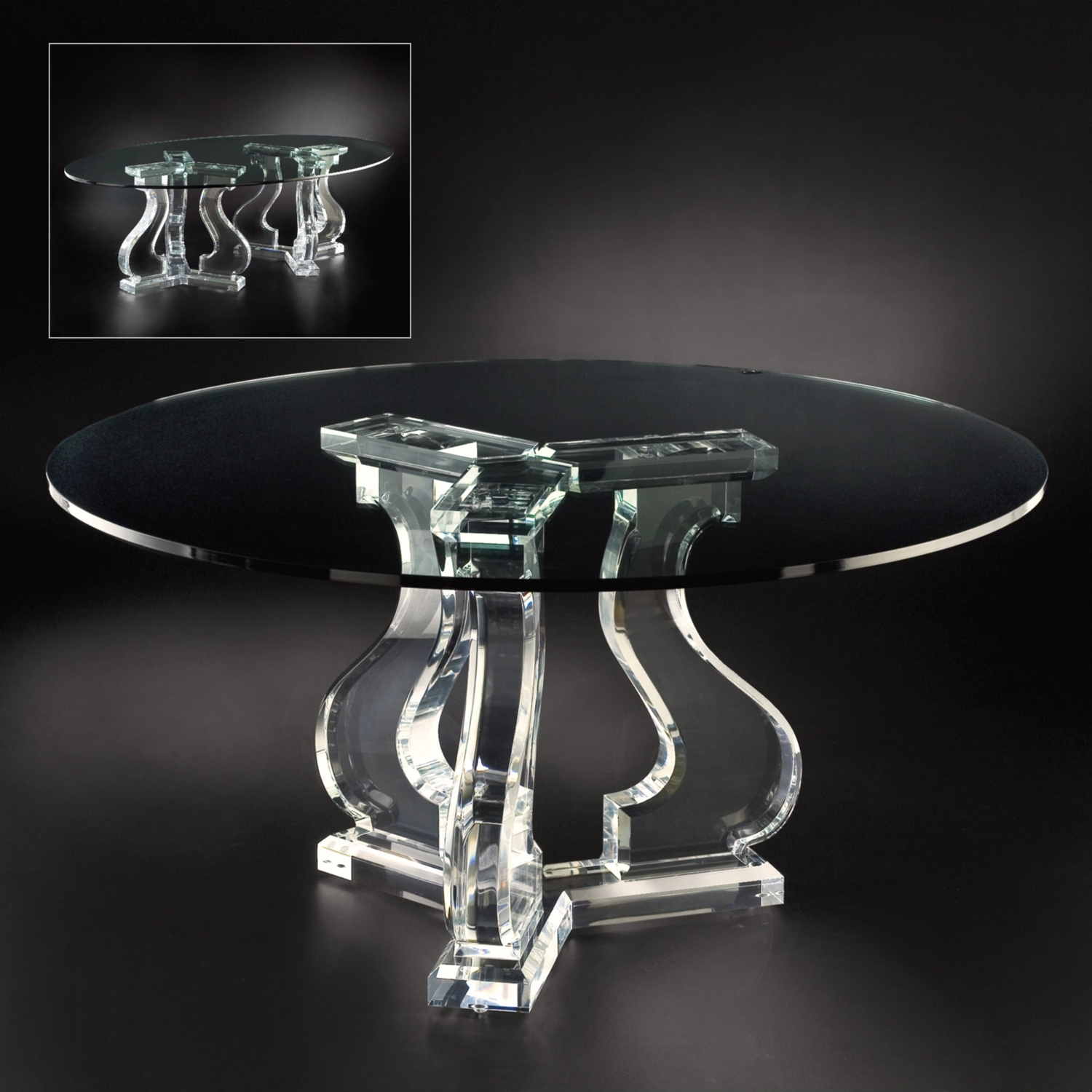 Recent Allan Knight Acrylic Chambord Dining Table Tripod K27449K Within Acrylic Round Dining Tables (View 10 of 25)