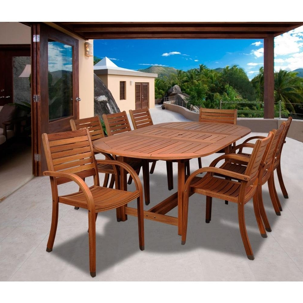 Recent Amazonia Arizona Oval 9-Piece Eucalyptus Patio Dining Set with regard to Craftsman 9 Piece Extension Dining Sets
