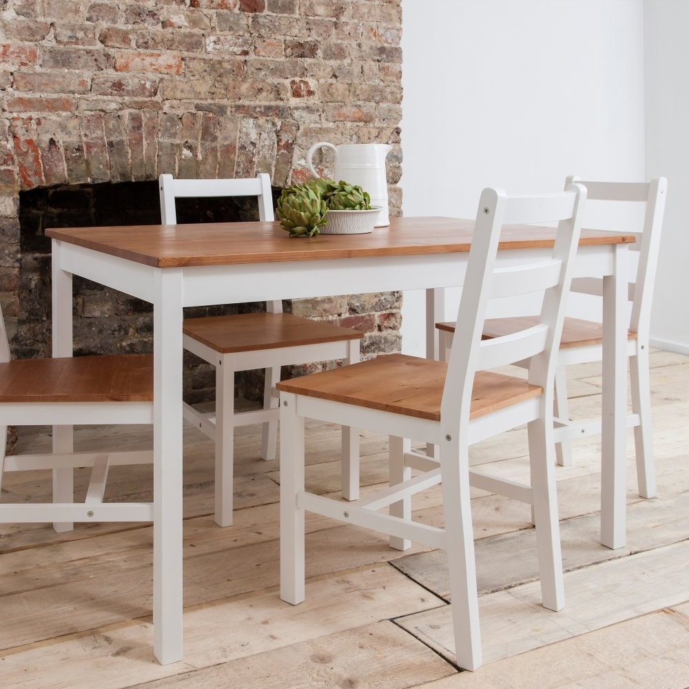 Recent Annika Dining Table With 4 Chairs In Natural & White (View 2 of 25)