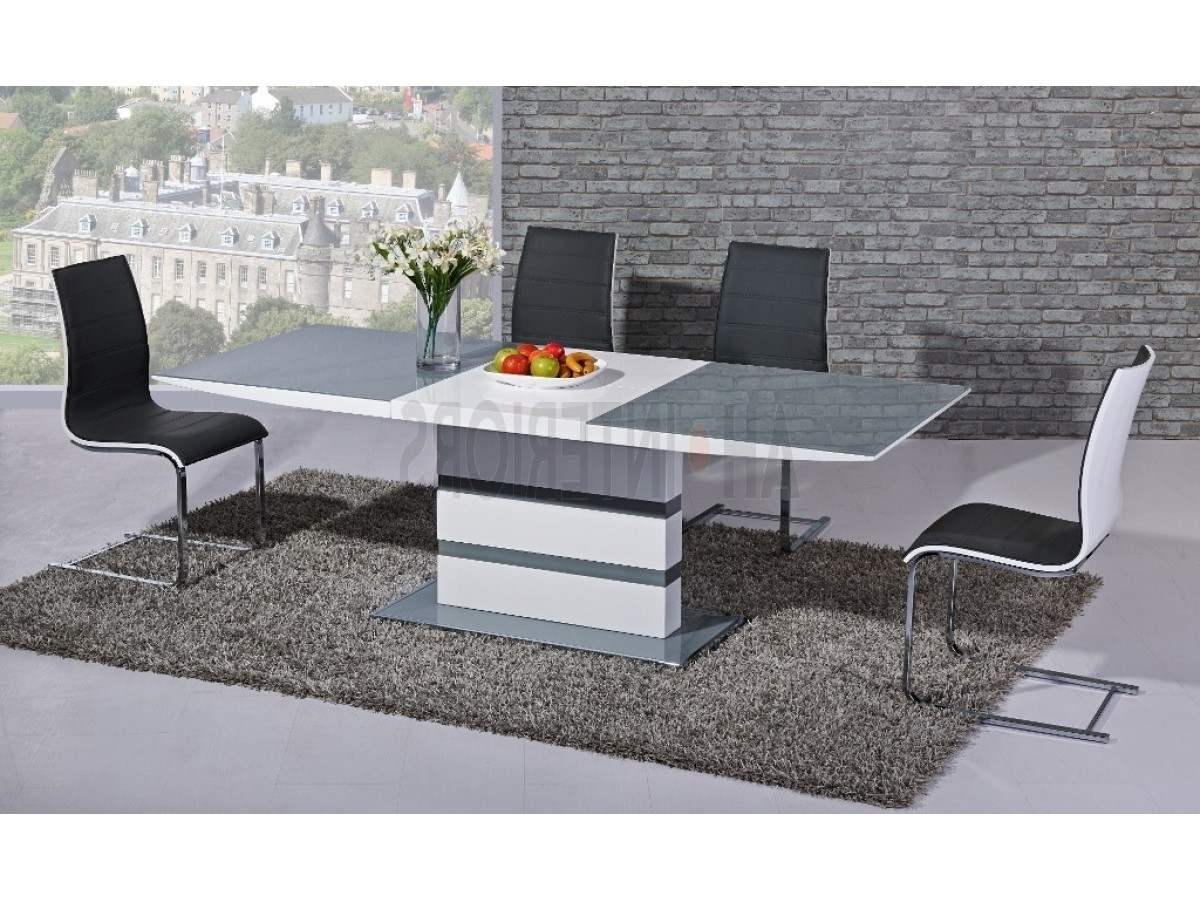Recent Arctic White High Gloss Extending Black Glass Dining Table With 4 With Black Glass Extending Dining Tables 6 Chairs (View 6 of 25)