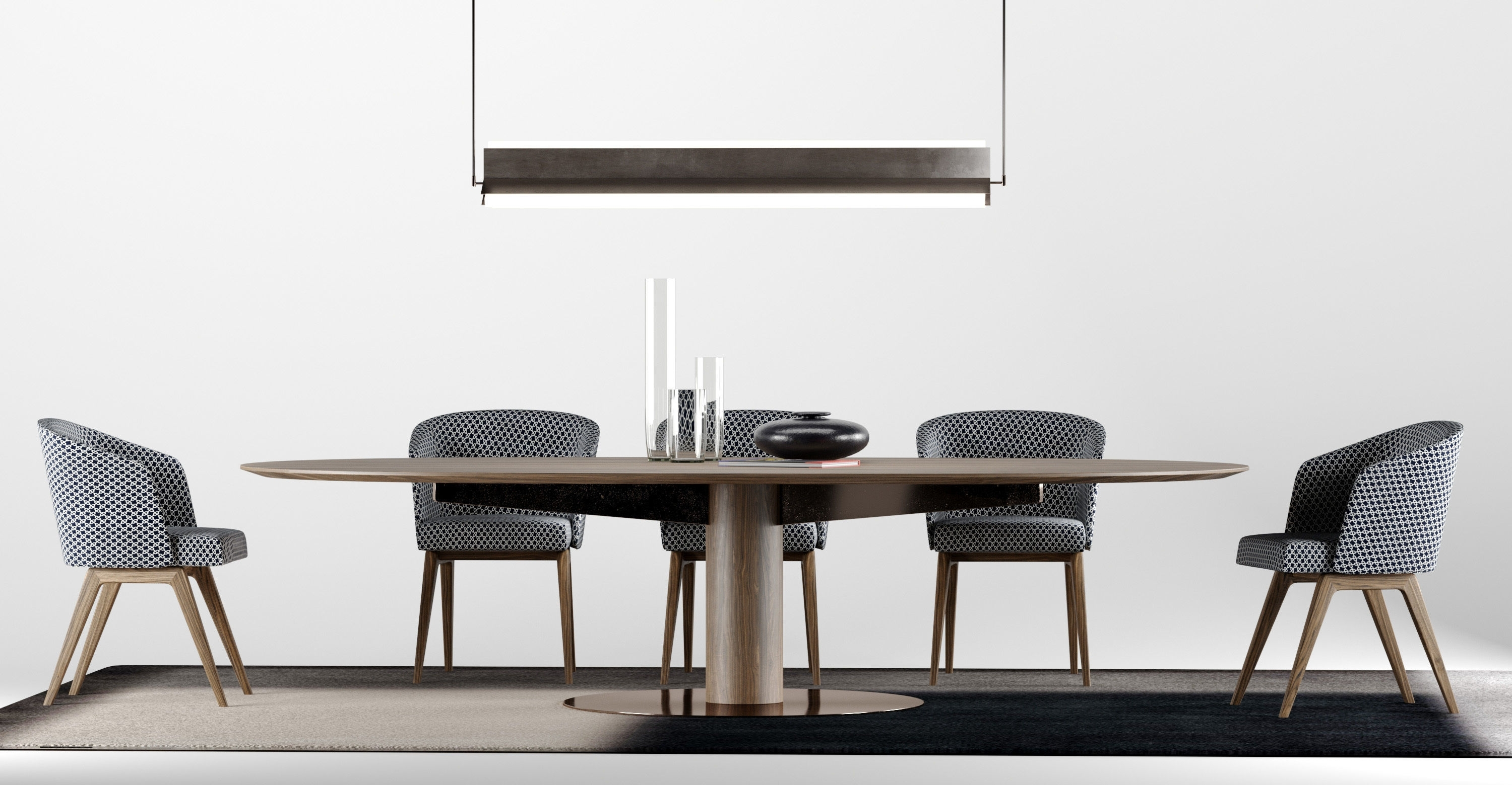 Recent Bellagio Dining Tables With Regard To 3D Model Minotti Dining Bellagio Set 1 Type H (View 19 of 25)