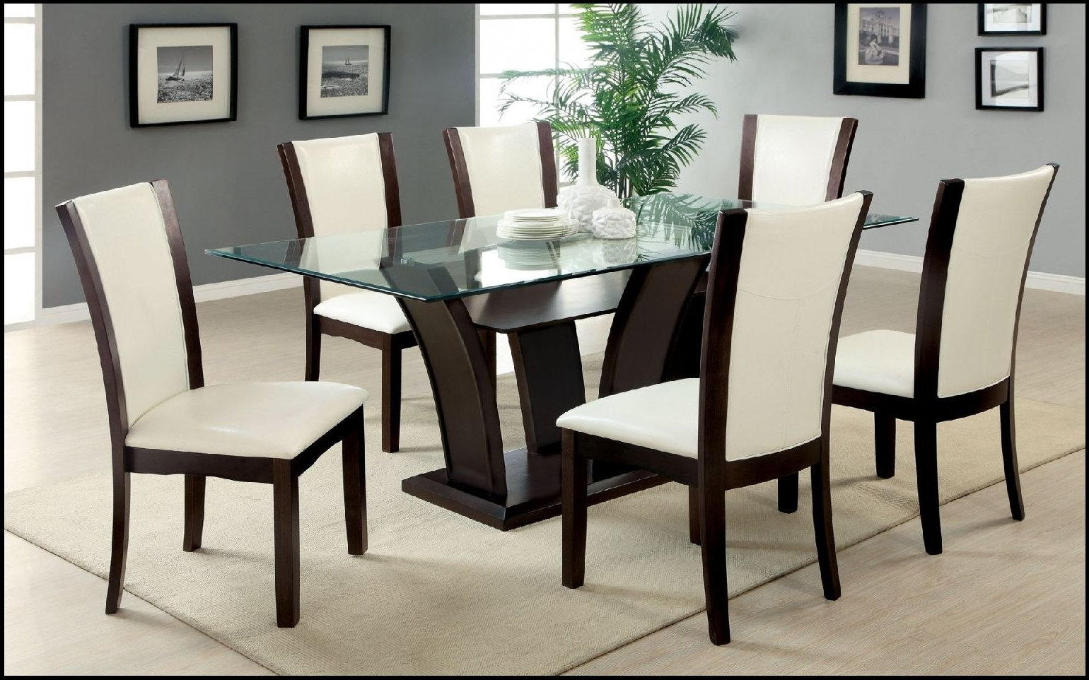 Recent Best 6 Chair Glass Dining Table Set With Folding Dining Table And 6 Throughout Black Glass Dining Tables With 6 Chairs (View 21 of 25)