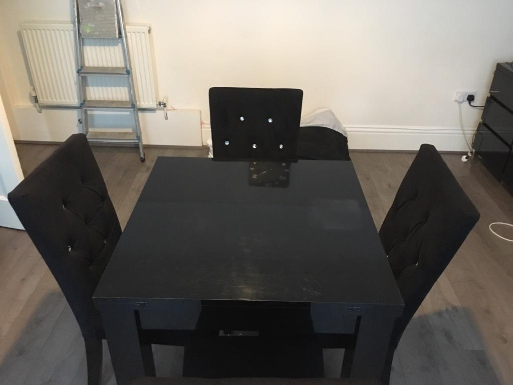 Recent Black High Gloss Dining Chairs In Next Black High Gloss Dining Table And Chairs (Sold Pending Pick Up (View 11 of 25)