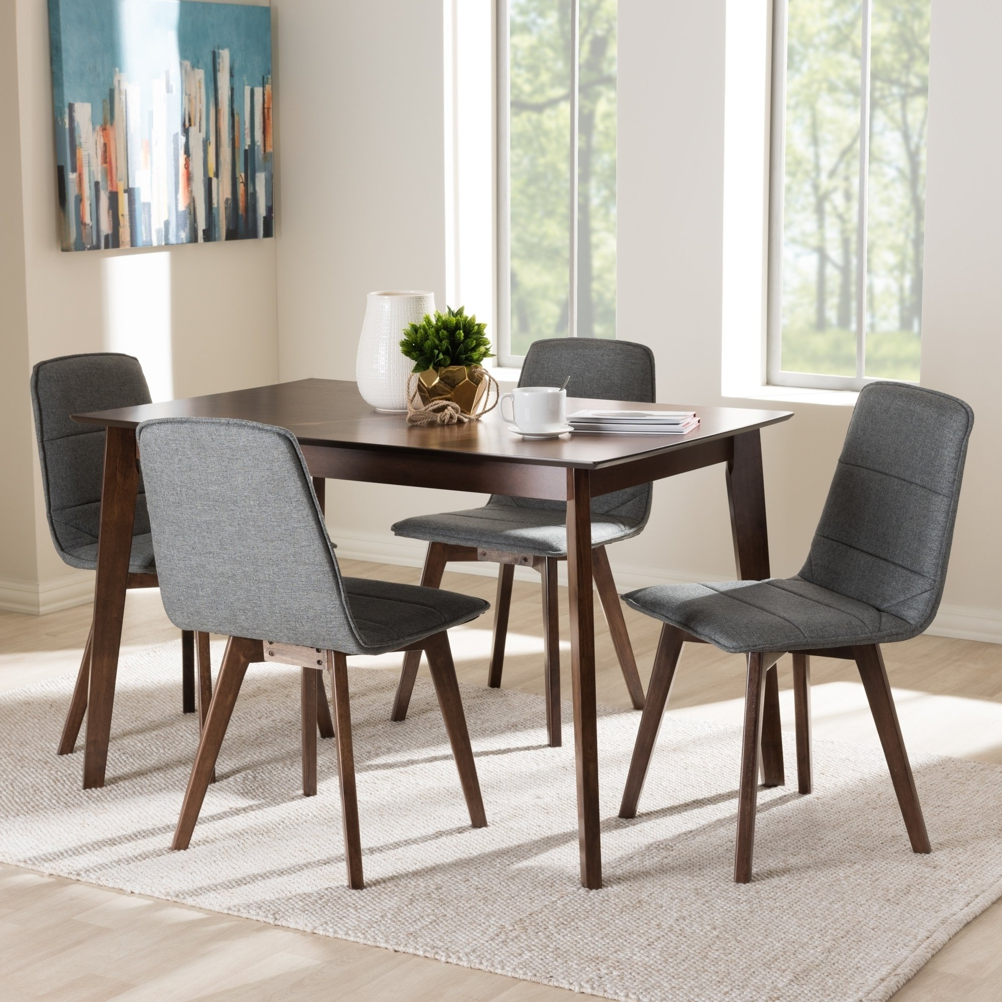 Recent Caden 5 Piece Round Dining Sets With Upholstered Side Chairs With Regard To Mid Century 5 Piece Dining Setbaxton Studio – Free Shipping (View 16 of 25)