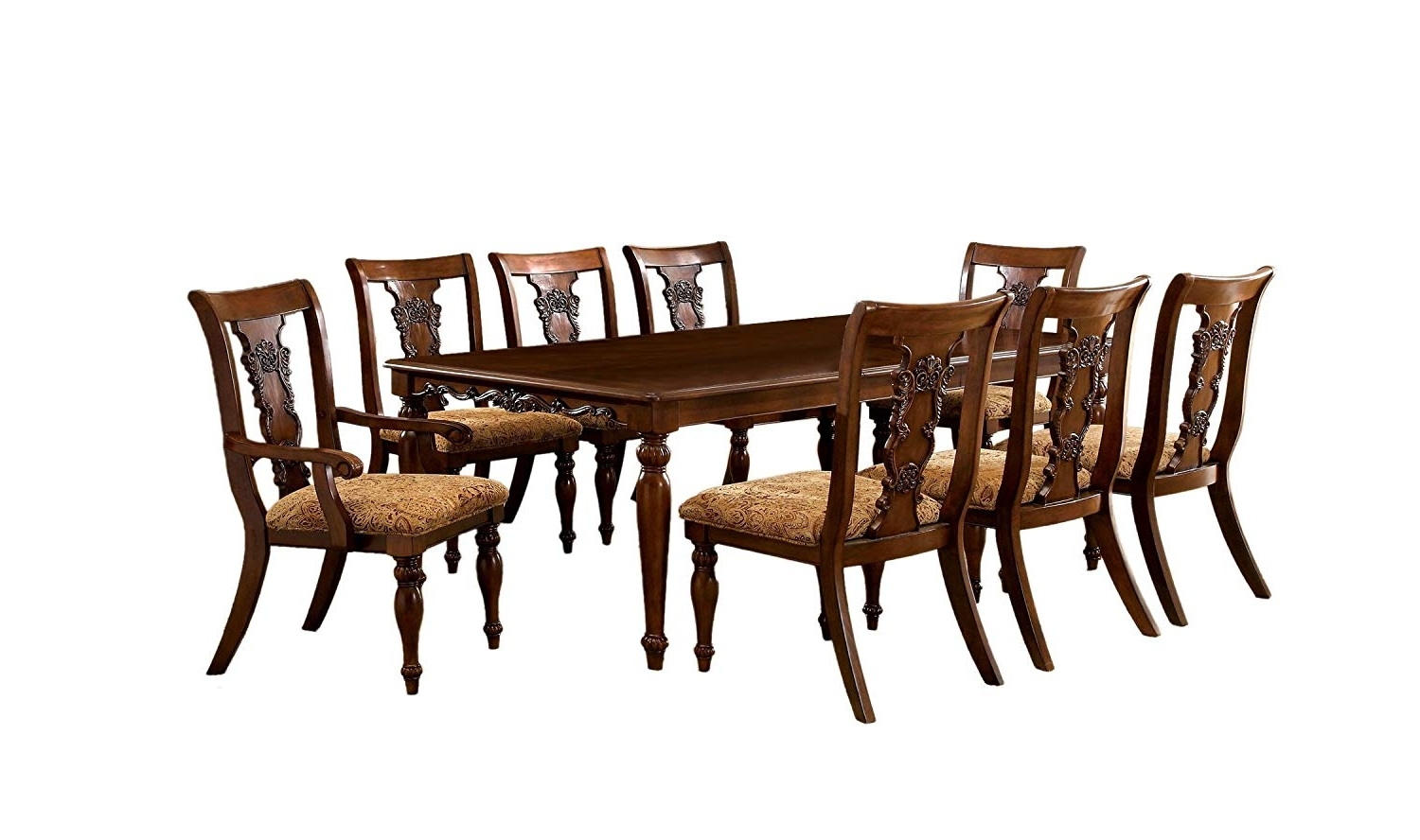 Recent Caira 7 Piece Rectangular Dining Sets With Upholstered Side Chairs with Amazon - Furniture Of America Voltaire 9-Piece Formal Dining