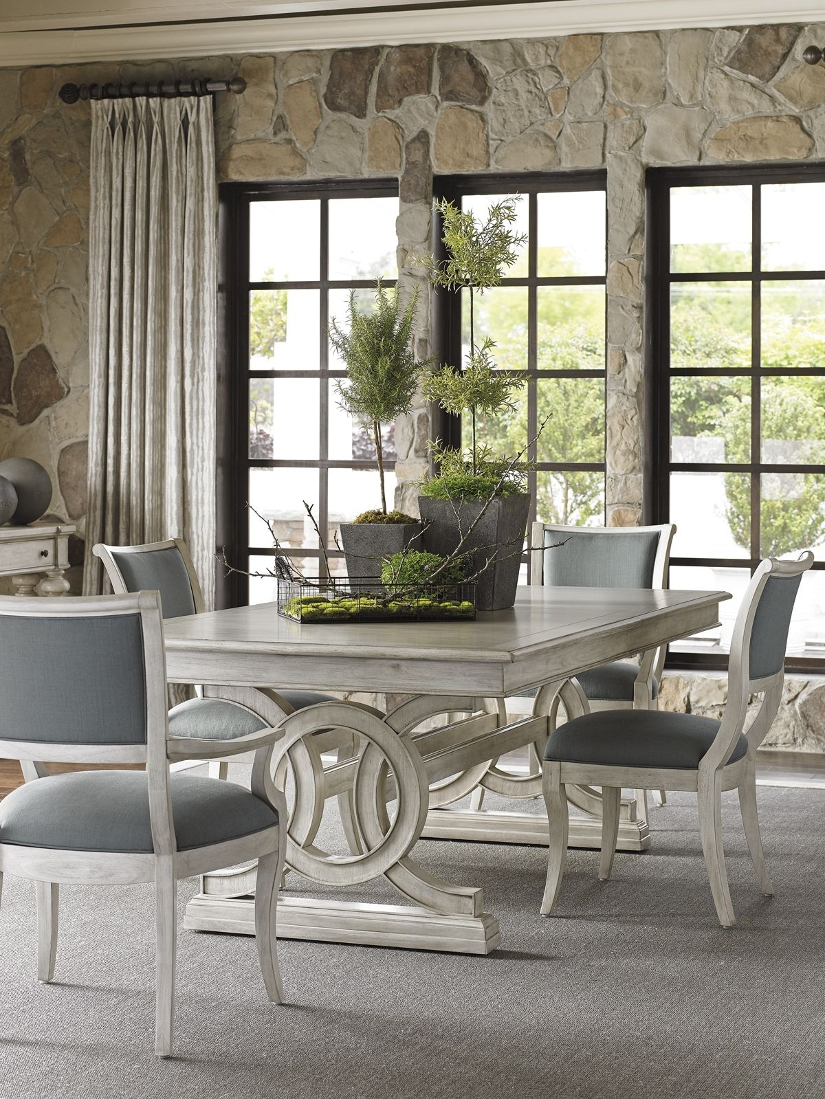 Recent Candice Ii 7 Piece Extension Rectangular Dining Sets With Uph Side Chairs with Oyster Bay Montauk Rectangular Dining Table With Slate Blue