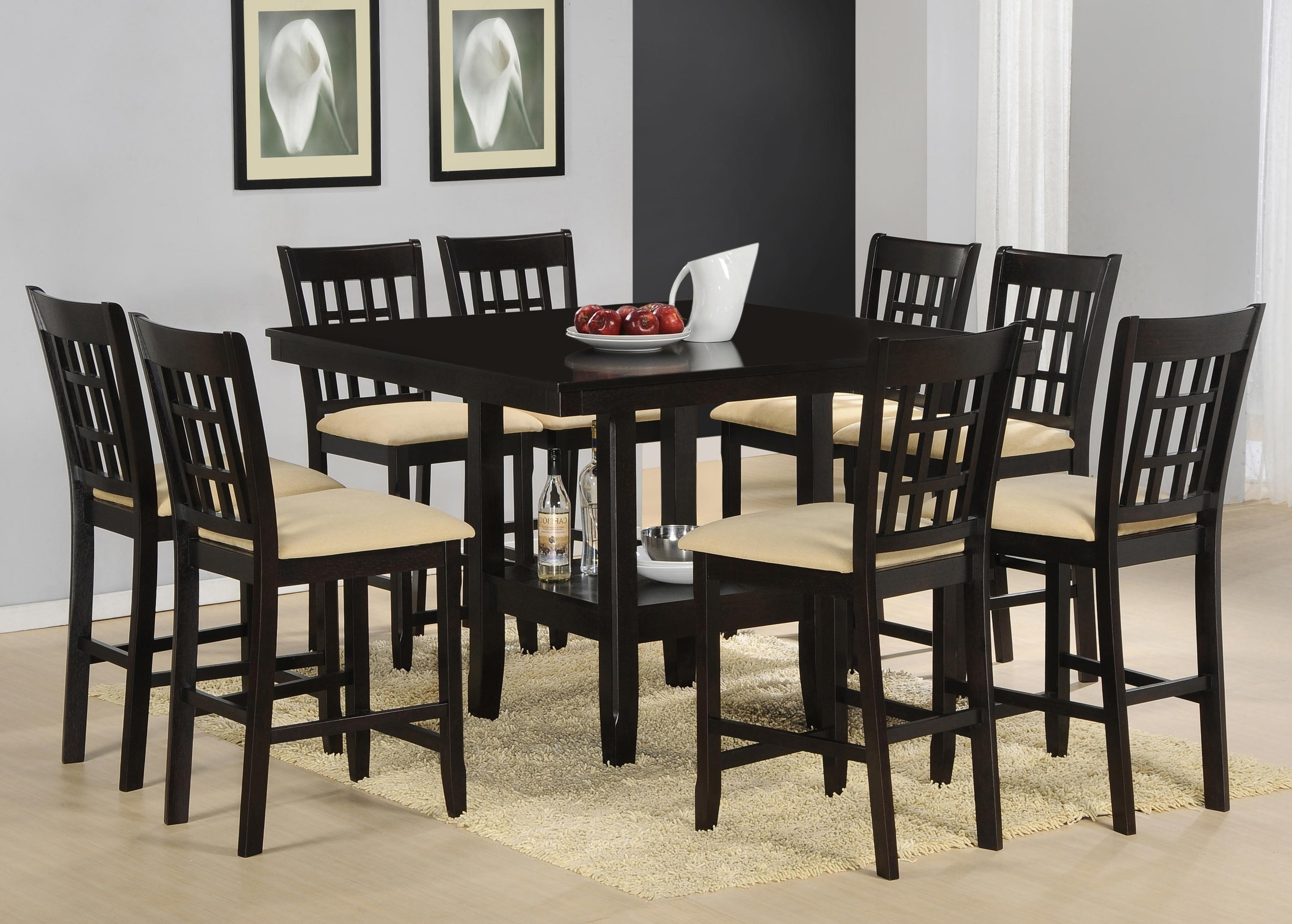 Recent Chapleau Ii 9 Piece Extension Dining Table Sets for Cheery Caira Piece Extension Set Back Chairs Caira Piece Extension