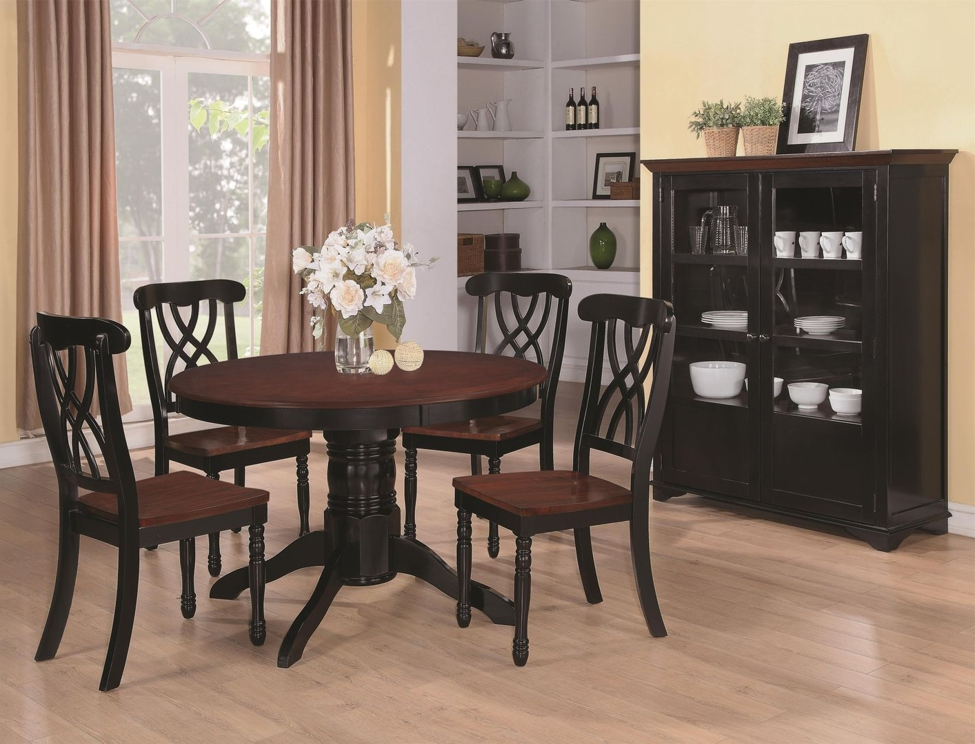Recent Dark Solid Wood Dining Tables Regarding Addison Black And Cherry Wood Dining Table – Steal A Sofa Furniture (View 11 of 25)