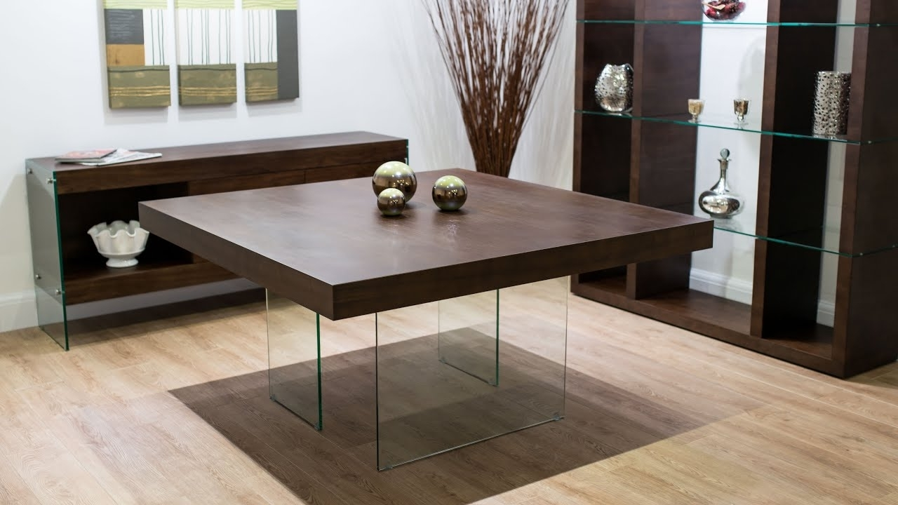 Recent Dark Wood Square Dining Tables In Aria Espresso Dark Wood And Glass Square Dining Table – Youtube (View 21 of 25)