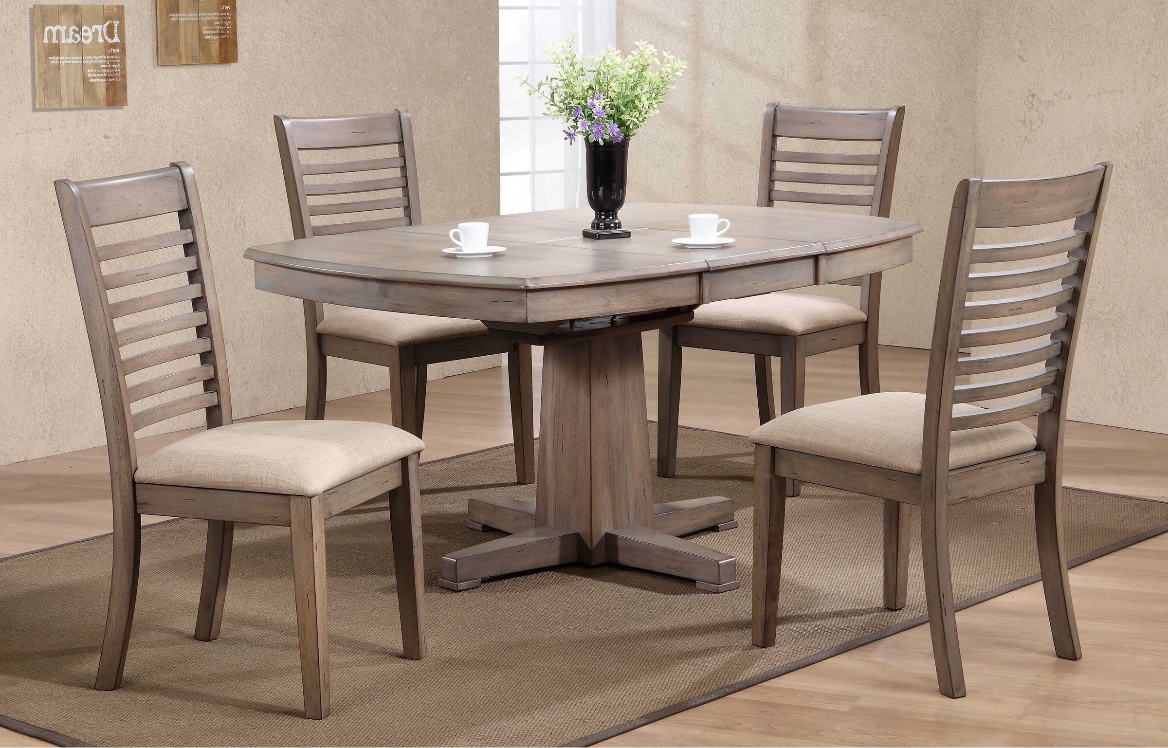 "Recent Dining Room Chairs Only In Ventura 57"" Pedestal Table & 4 Chairs In Grey Wash Finishwinners (View 16 of 25)"