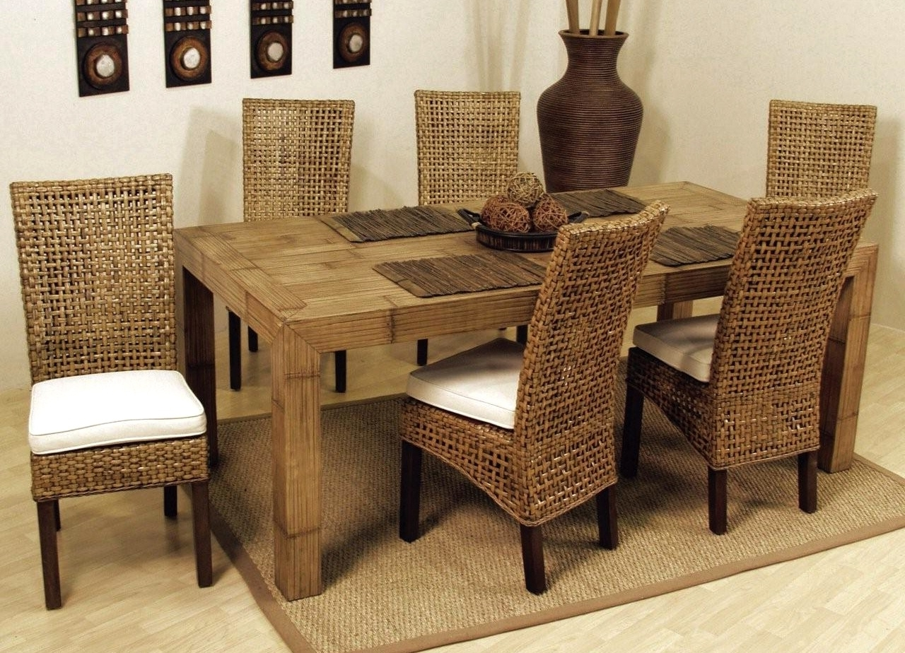 Recent Dining Room Rattan Breakfast Table And Chairs Rattan Glass Table And Throughout Wicker And Glass Dining Tables (View 10 of 25)
