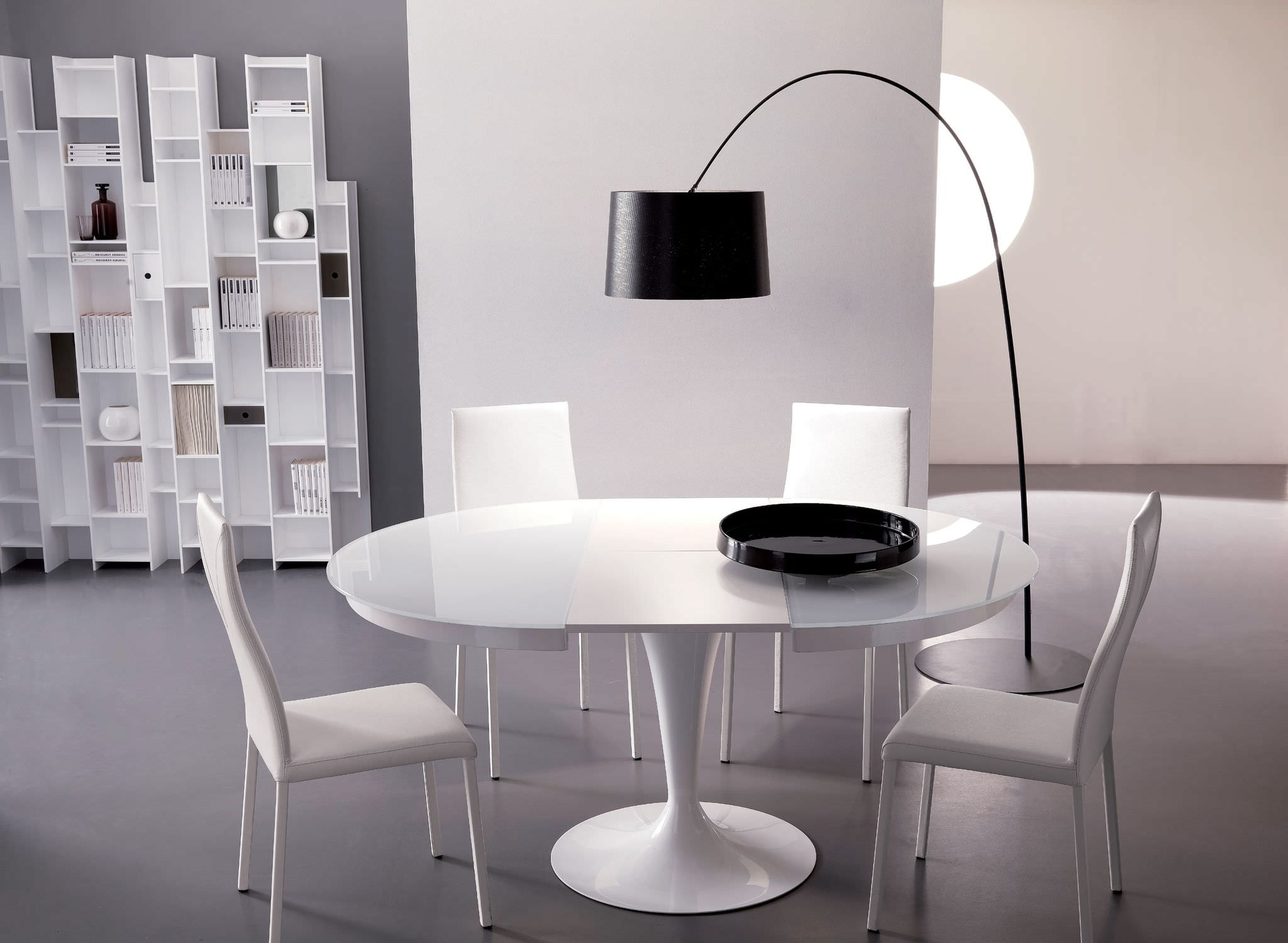 Recent Dining Table: Archaic Design Ideas Using Rounded Black Standing For Round White Extendable Dining Tables (View 12 of 25)