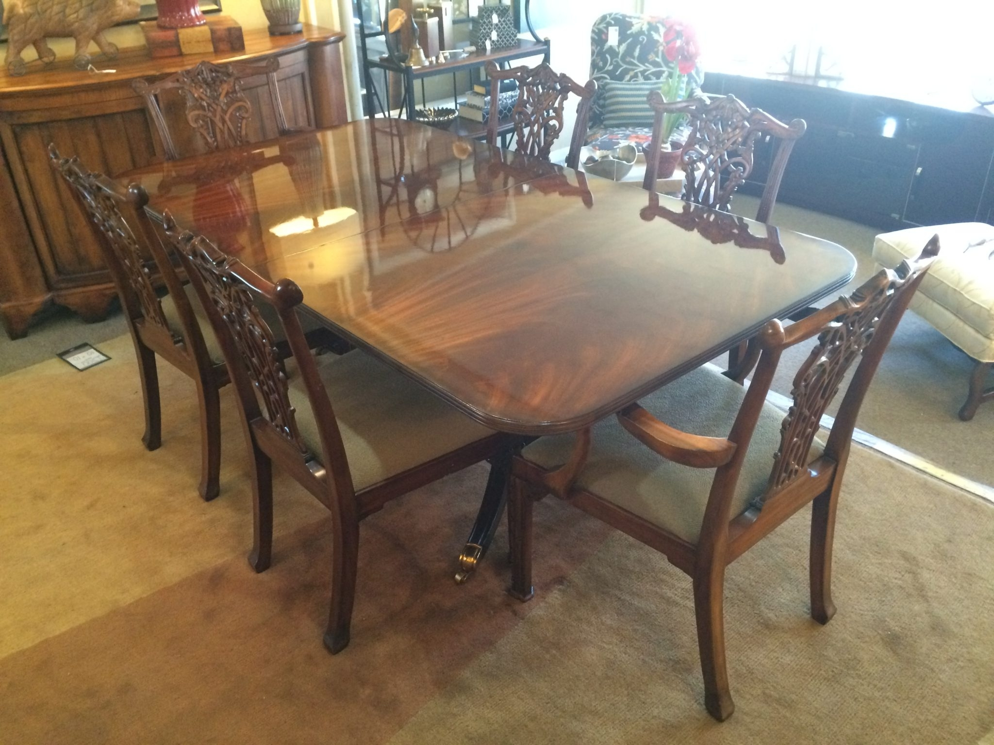 Recent Dining Tables And Six Chairs Inside Maitland Smith Crotch Mahogany Dining Table With Six Chairs (View 20 of 25)